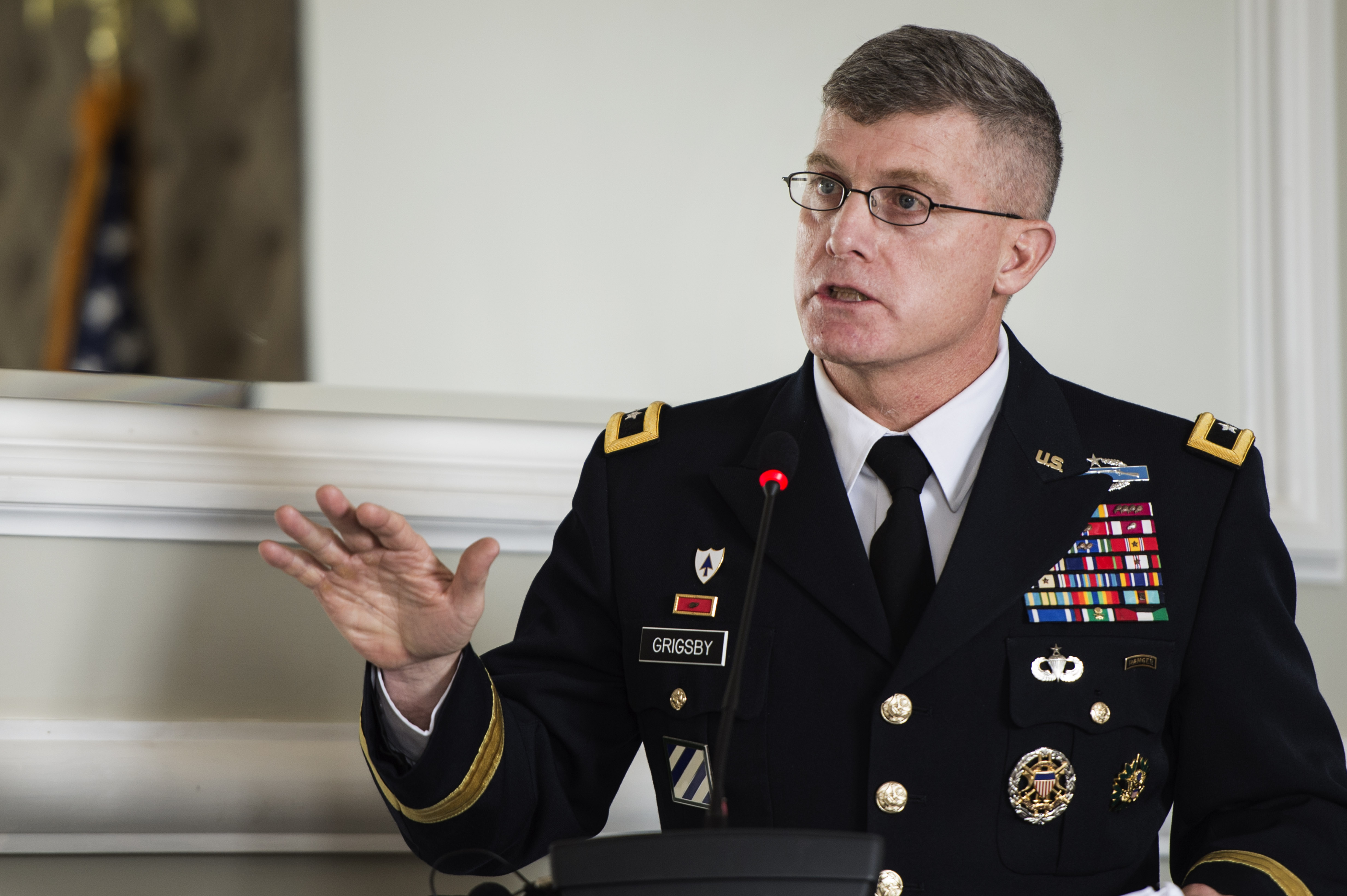 "150408-F-QZ836-170 Kenya(April 08,2015)U.S. Army Maj. Gen. Wayne W. Grigsby, Jr., Combined Joint Task Force-Horn of Africa commanding general, makes opening remarks at the Senior Leaders Summit, ""Professionalization of Forces in the Horn of Africa,"" in Nairobi, Kenya, Apr. 8, 2015. The conference brought together senior leadership from U.S. Africa Command; notably Ambassador Phillip Carter, (Deputy to the Commander for Civil-Military Engagement of United States Africa Command), CJTF-HOA and East Africa nations for a three-day conference guided around the Profession of Arms. (U.S. Air Force Photo by Staff Sgt. Carlin Leslie)"