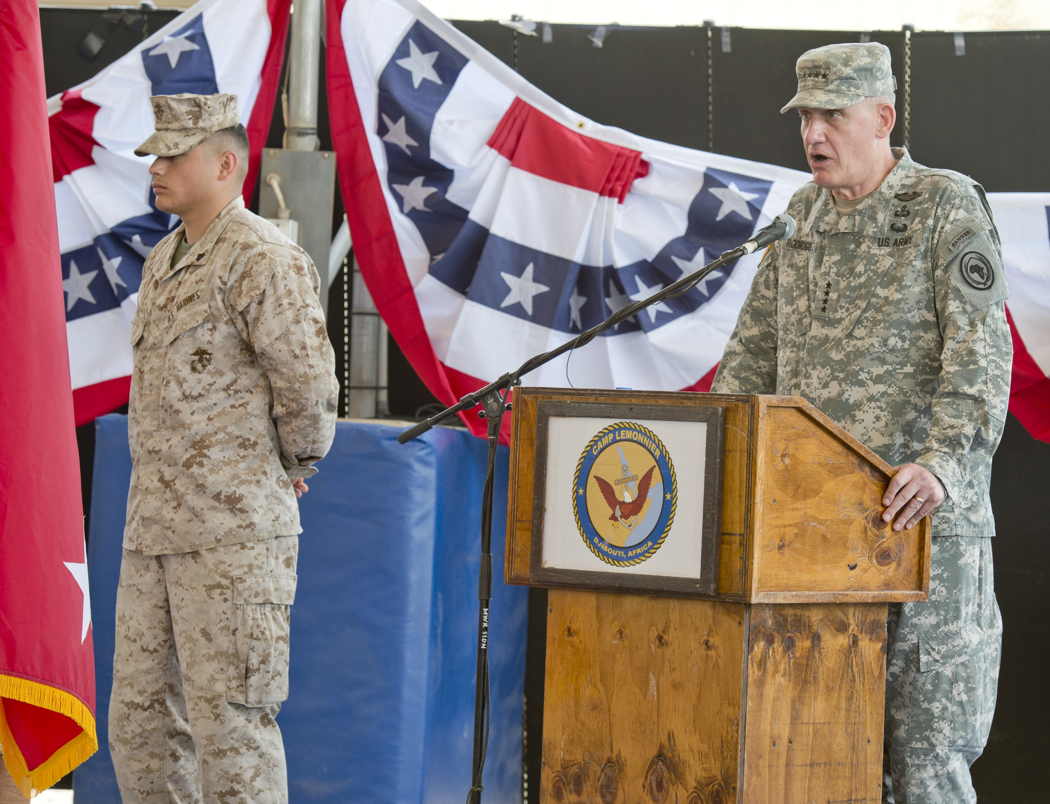 U.S. Army Gen. David Rodriguez, U.S. Africa Command commander, delivers remarks during the Combined Joint Task Force-Horn of Africa change of command ceremony at Camp Lemonnier, Djibouti, April 14, 2015. During the ceremony, U.S. Army Maj. Gen. Mark Stammer assumed command of CJTF-HOA from Maj. Gen. Wayne W. Grigsby, Jr. Additionally, Stammer obtained the rank of Major General during a frocking ceremony on April 13, before taking command of CJTF-HOA from Maj. Gen. Wayne W. Grigsby, Jr.  (U.S. Air Force photo by Tech. Sgt. Ian Dean)
