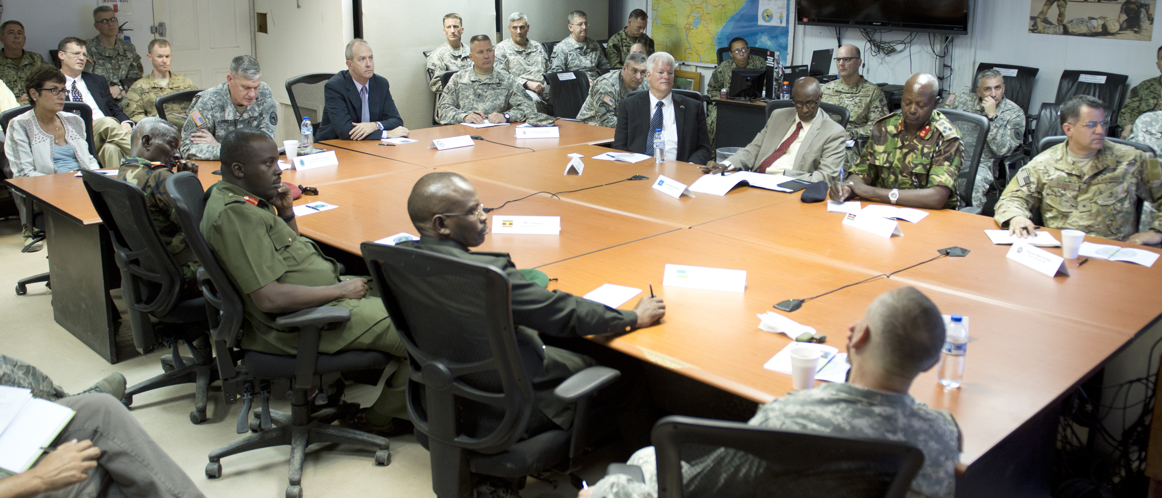 U.S. Army General David Rodriguez, U.S. Africa Command commander, host an East Africa Joint Interagency, Intergovernmental, and Multinational conference at Camp Lemonnier, Djibouti, April 14, 2015.  The event was a forum for regional U.S. Embassy and East African partner nation representatives to gain greater insight into each other's goals and objectives within the East Africa region. The event also provided an opportunity for Rodriguez to introduce his new Combined Joint Task Force-Horn of Africa Commander, U.S. Army Maj. Gen. Mark Stammer, to the regional U.S. Embassy and East African partner nation representatives. (U.S. Air Force photo by Staff Sgt. Kevin Iinuma)