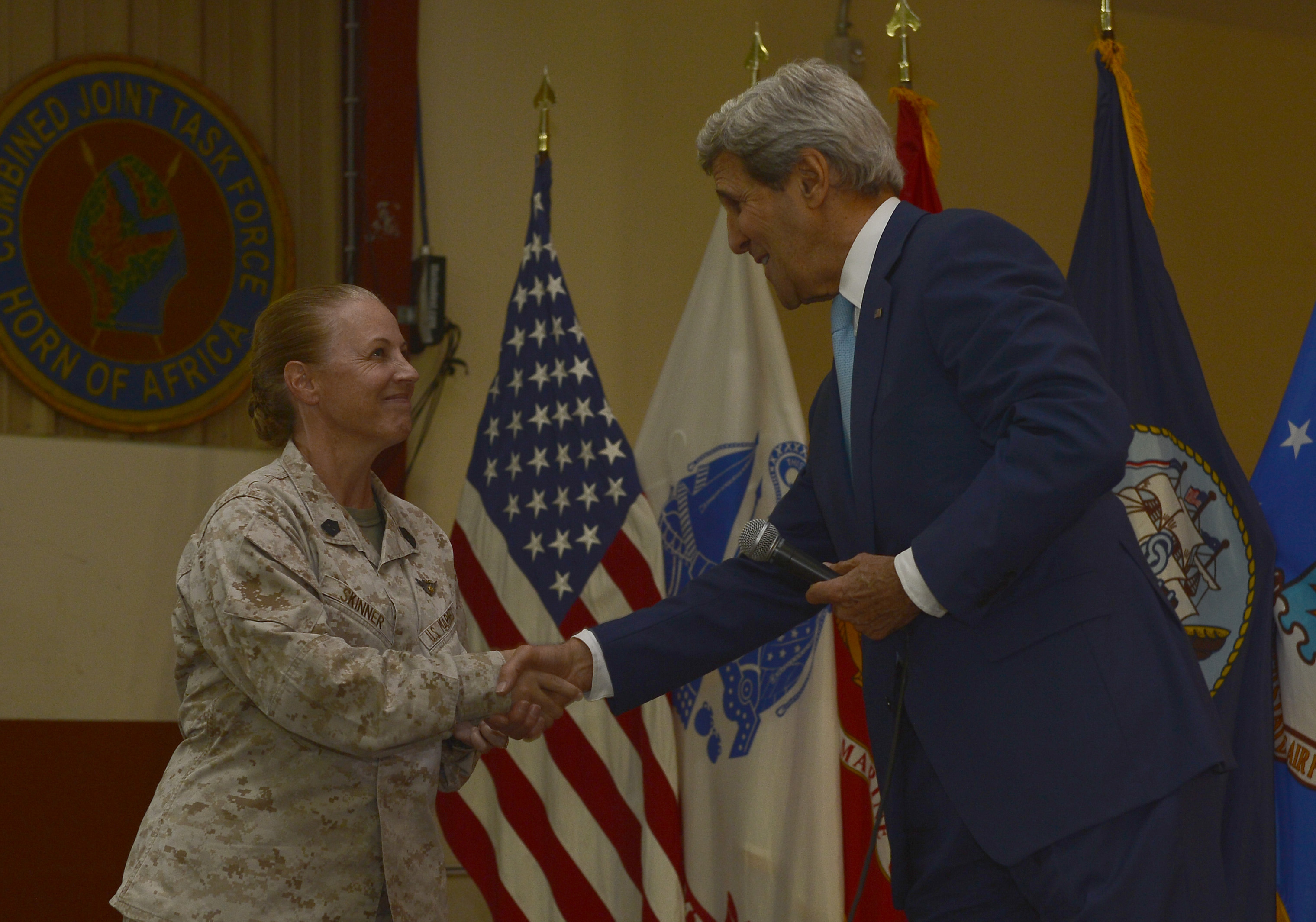 John Kerry, U.S. Secretary of State recognized U.S. Marine Corps Sgt. Maj. Bonnie Skinner, Combined Joint Task Force- Horn of Africa command senior enlisted leader, during his remarks to Camp Lemonnier service members at Camp Lemonnier, Djibouti, May 6, 2015. Skinner was praised for her overall dedication during her two years at CJTF-HOA.