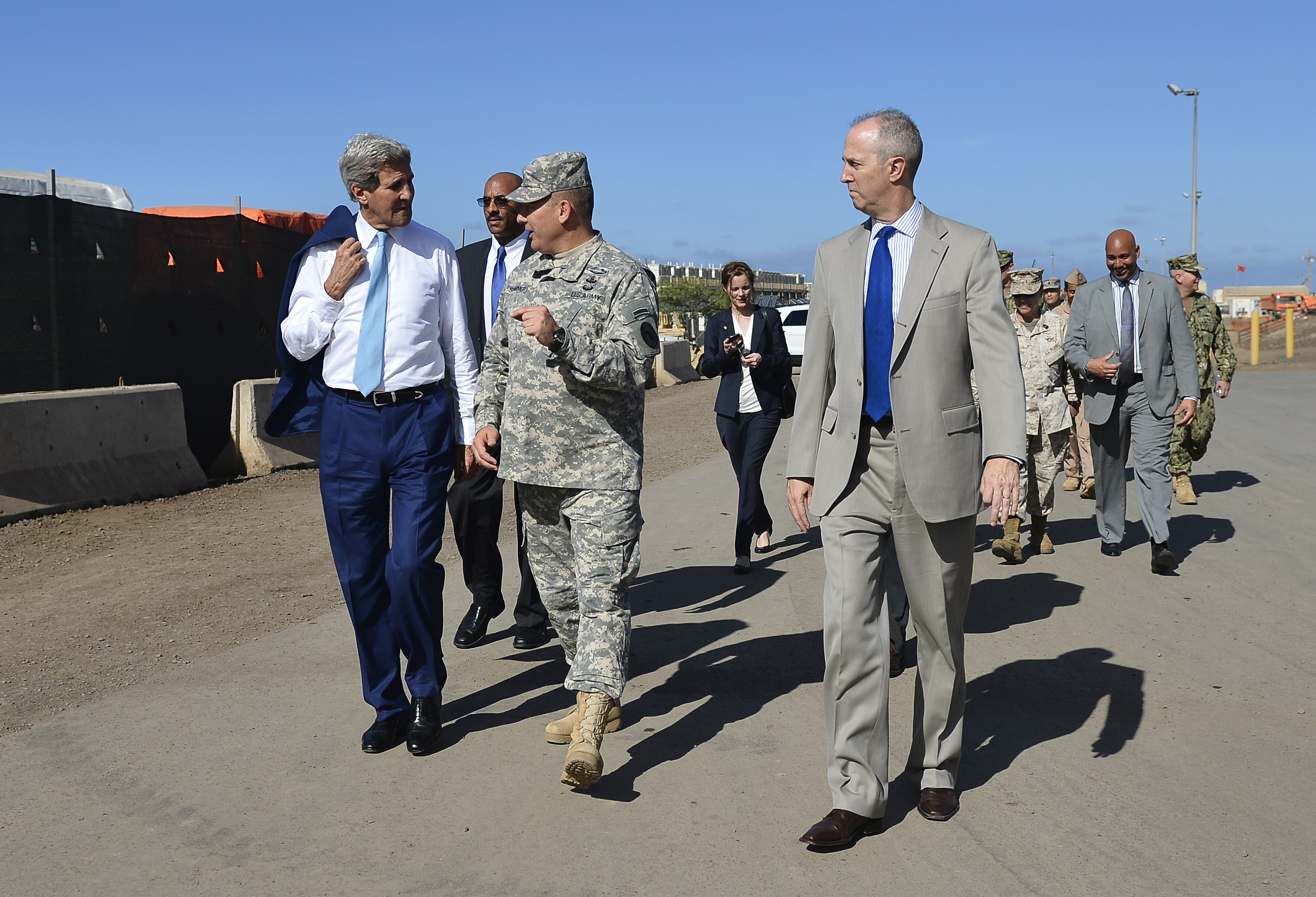 Maj. Gen. Mark R. Stammer, Combined Joint Task Force- Horn of Africa commander, center, and Thomas Kelly, U.S. Ambassador to the Republic of Djibouti, right, give John Kerry, U.S. Secretary of State, a tour at Camp Lemonnier, Djibouti, May 6, 2015. Kerry is the first U.S. Secretary of State to visit the country of Djibouti. (U.S. Air Force photo by Senior Airman Nesha Humes/released)