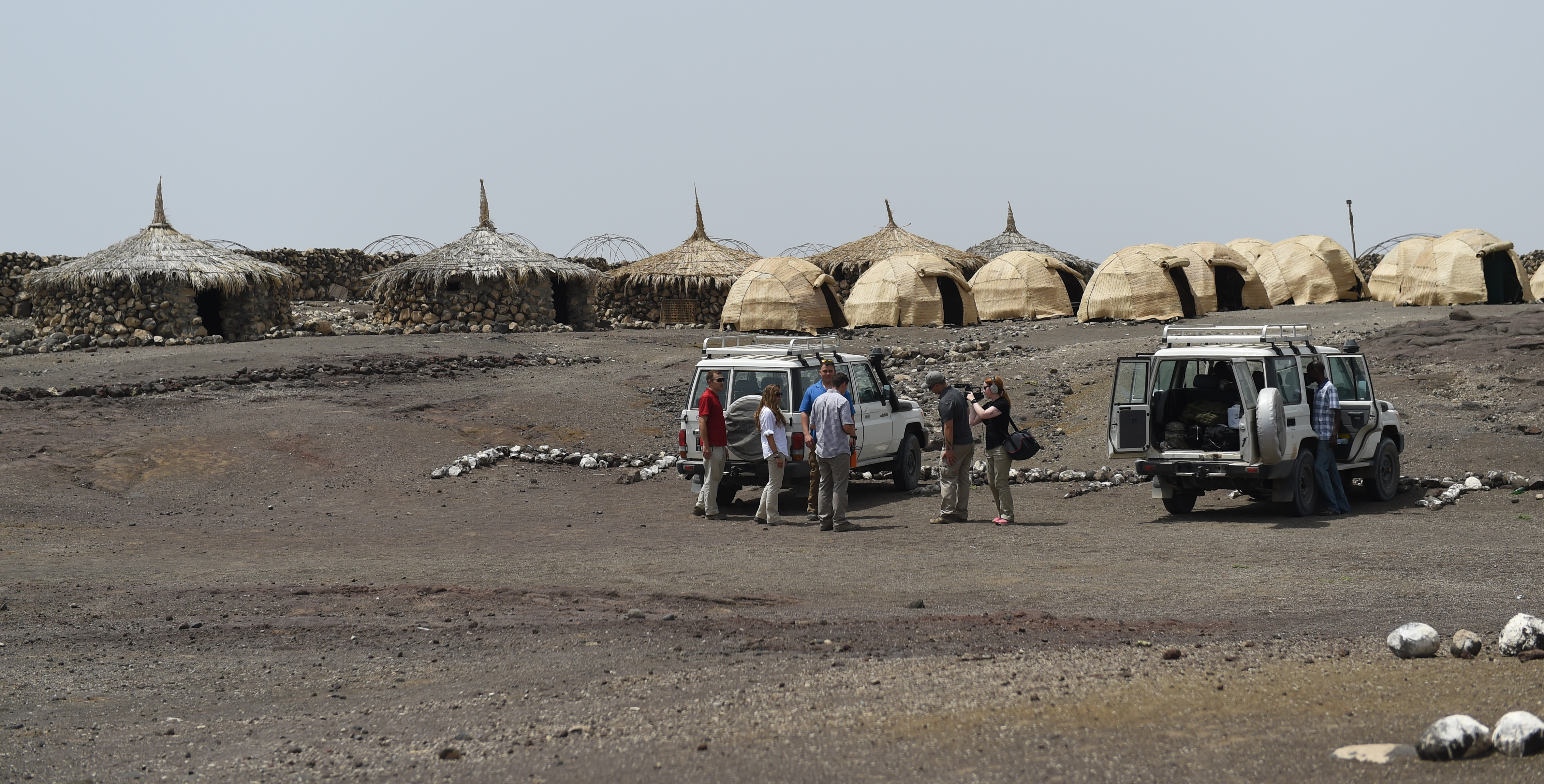 Members of the U.S. Army's 404th Civil Affairs Battalion prepare to pack up for their trip home from Lac Abbé, Djibouti, May 20, 2015. The team met village elders for the first time, to better understand the significance and utility of the nearby arid lake, along with the village's nutrition center. The team is assigned to the Combined Joint Task Force- Horn of Africa and act as liaisons between the military and their civilian counterparts. (U.S. Air Force photo by Senior Airman Nesha Humes)