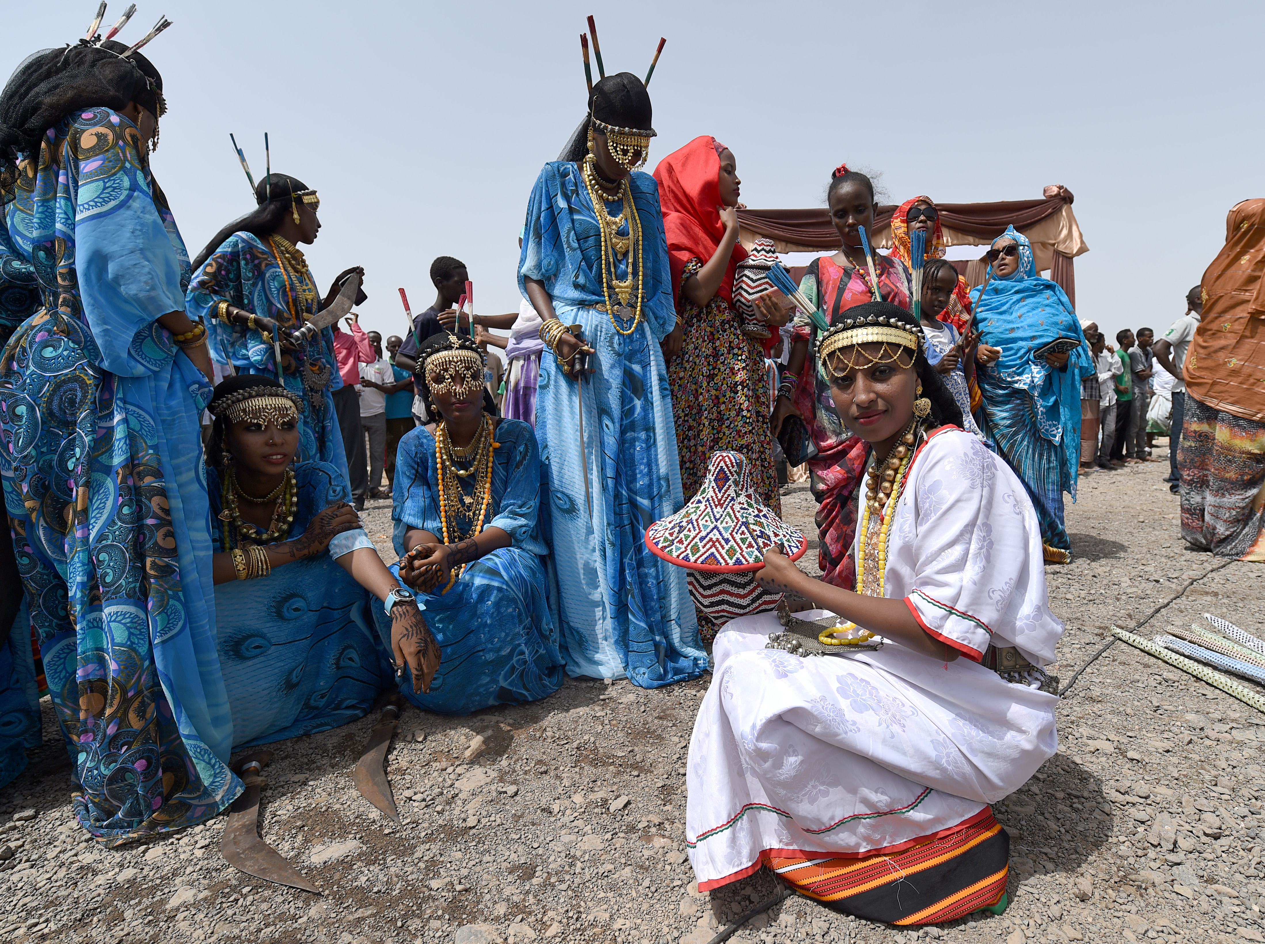 Tadjourah women rest after dancing for the 21st Sultan of Gobaad during his induction ceremony in Dikhil, Djibouti, May 22, 2015. The sultanates of Tadjourah and Gobaad are the two Afar regions in Djibouti. (U.S. Air Force photo by Senior Airman Nesha Humes)