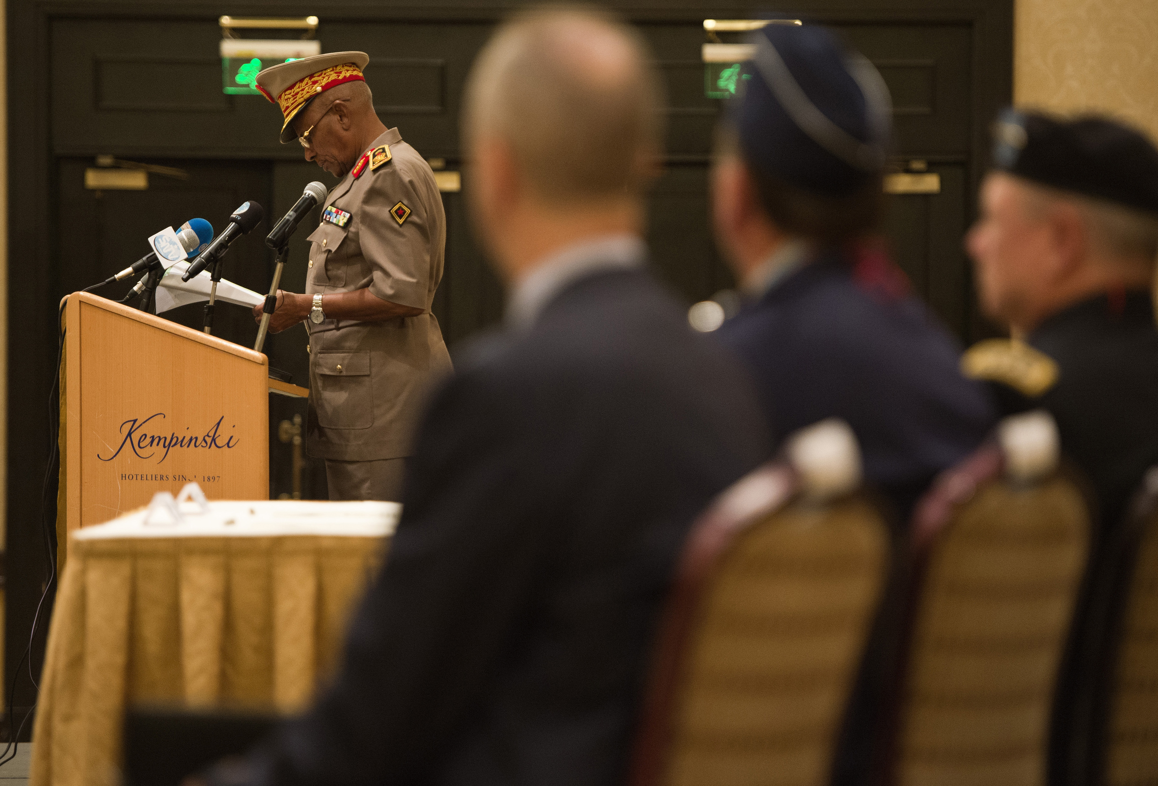 Maj. Gen. Zakaria Cheik Ibrahim, Djiboutian Armed Forces (FAD) chief of defense, speaks at the Kentucky National Guard and FAD State Partnership Program agreement signing ceremony at the Kempinski Hotel, Djibouti, June 2, 2015. Zakaria spoke about the strong partnership between the U.S. and Djibouti that began with both countries' commitment to fight terrorism after 9/11, which led to the American presence at Camp Lemonnier, Djibouti. (U.S. Air Force photo by Staff Sgt. Nathan Maysonet)