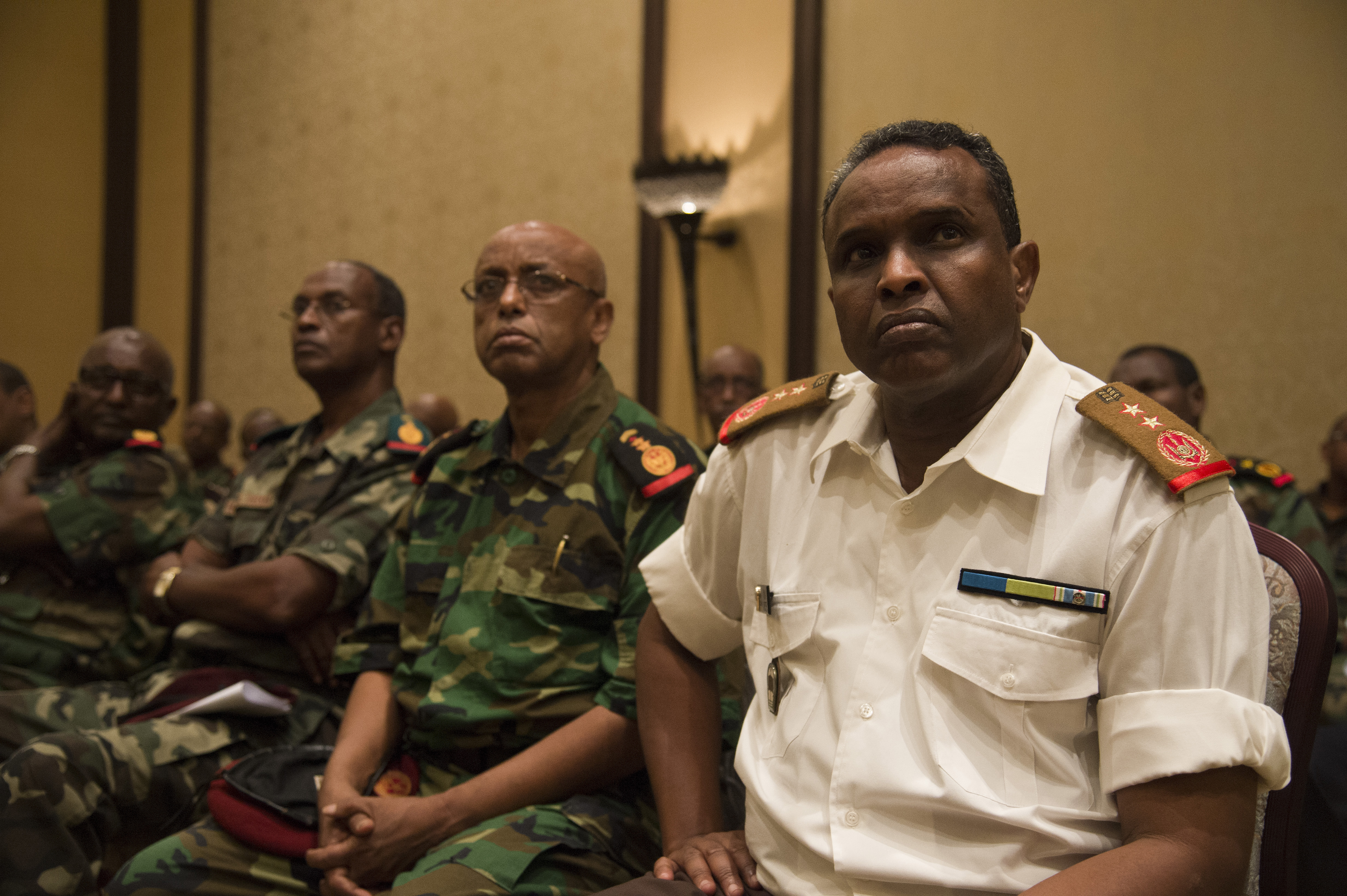 Representatives of the Djiboutian Armed Forces (FAD) attend the Kentucky National Guard and FAD State Partnership Program agreement signing ceremony at the Kempinski Hotel, Djibouti, June 2, 2015. The Republic of Djibouti is the 11th African country to join a SPP and the first in East Africa. (U.S. Air Force photo by Staff Sgt. Nathan Maysonet)
