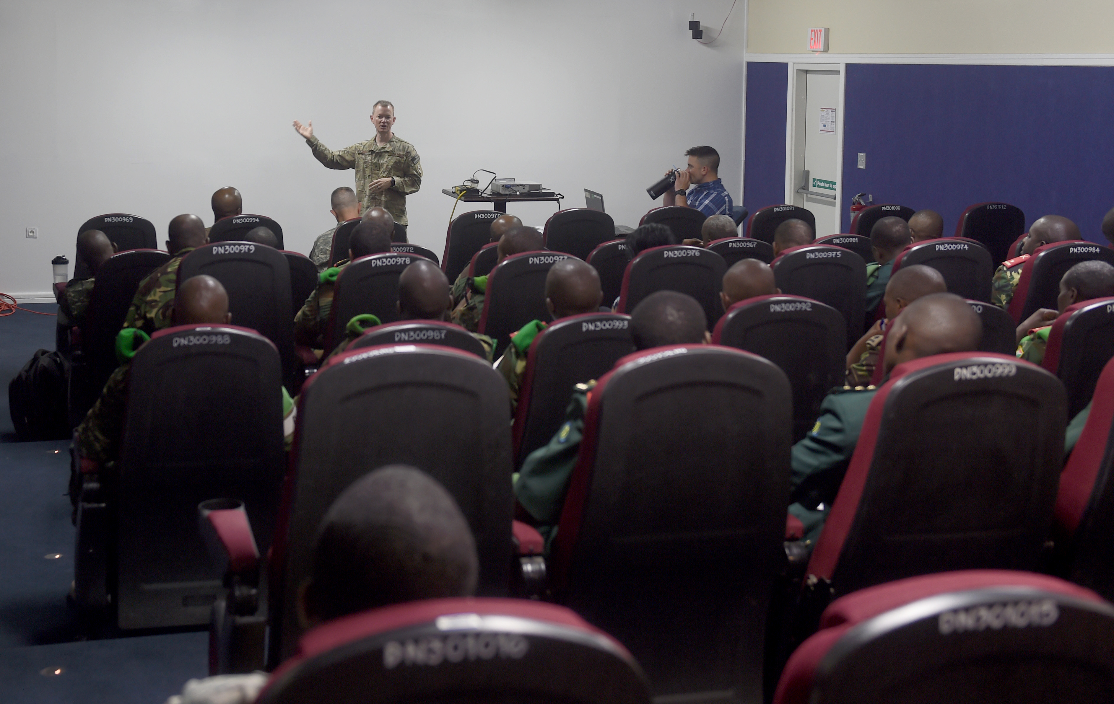 Brig. Gen. William P. West, Combined Joint Task Force- Horn of Africa deputy commander, speaks to public information officers during an African Union Mission in Somalia and Combined Joint Task Force–Horn of Africa PIO Conference at Camp Lemonnier, Djibouti, June 2, 2015. CJTF-HOA hosted the three-day conference to educate and encourage the free flow of information between AMISOM partner nations.