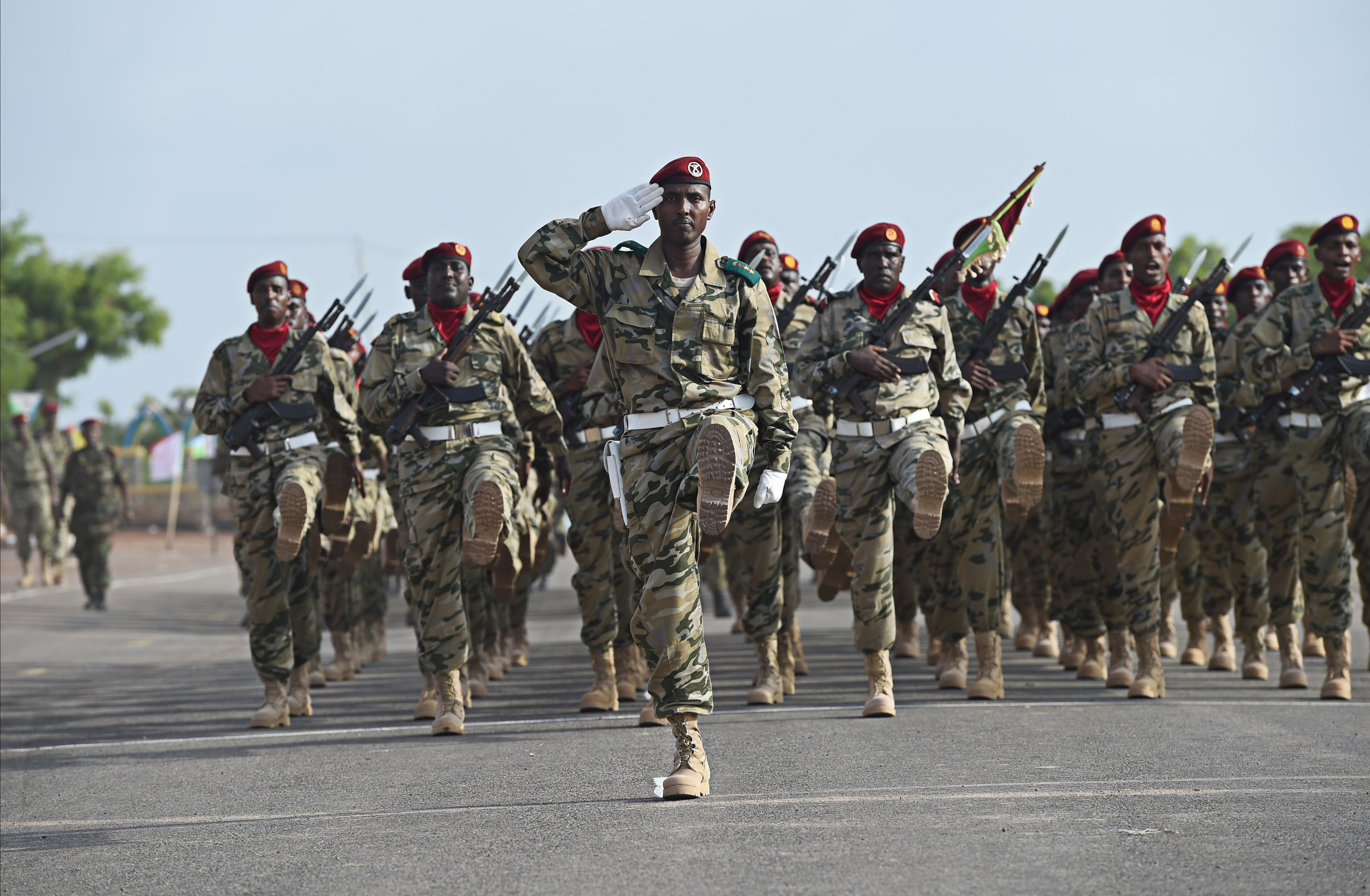 Djiboutian Army members march during the Djiboutian Armed Forces' (FAD) 38th anniversary celebration June 6, 2015 at Camp Cheik Osman, Djibouti,.  The FAD is comprised of 6500 Army, Air Force and Navy personnel. (U.S. Air Force photo by Senior Airman Nesha Humes)