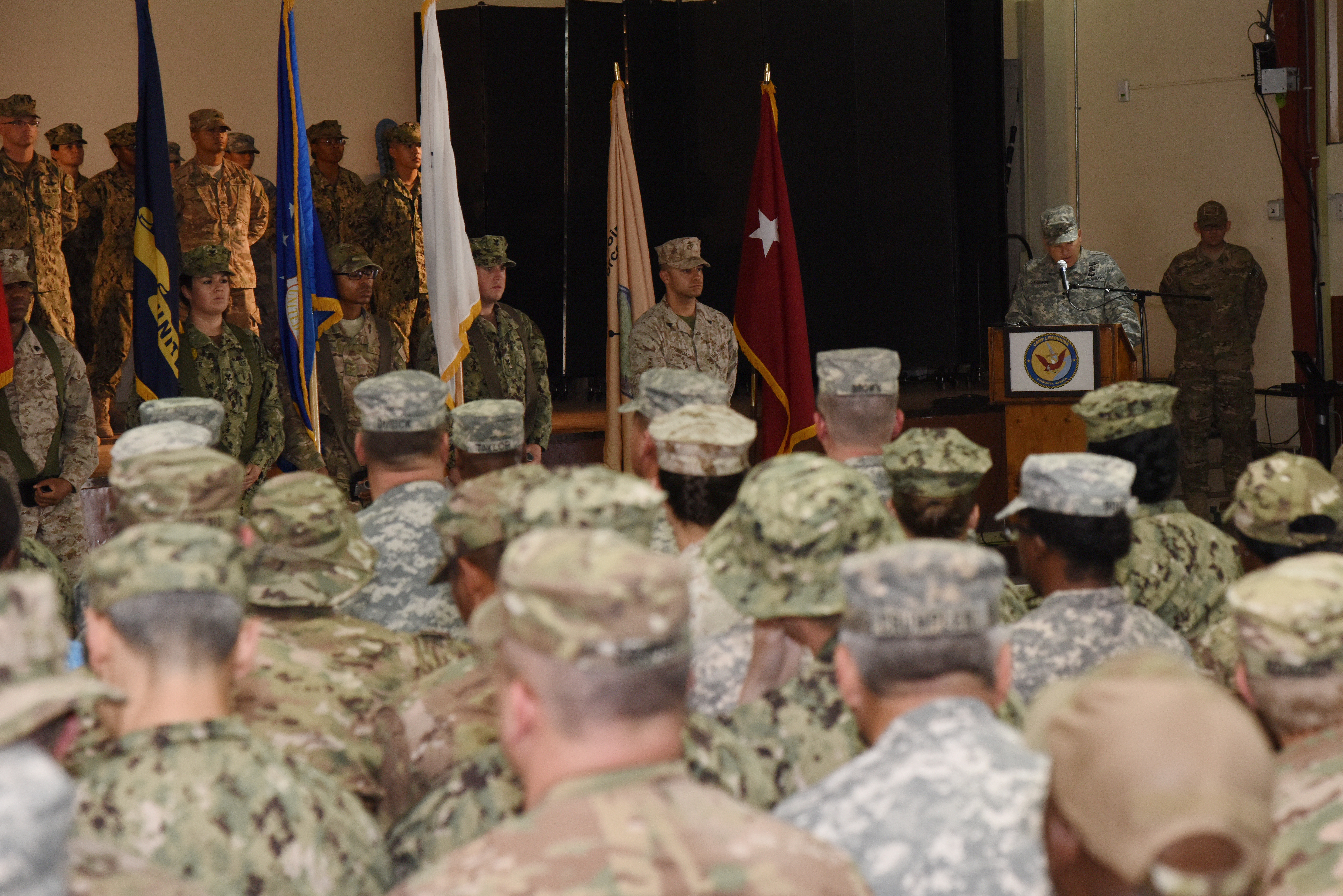 U.S. Army Maj. Gen. Mark Stammer, Combined Joint Task Force-Horn of Africa commander, speaks to service members assigned to Camp Lemonnier, Djibouti during a relinquishment of authority ceremony June 19, 2015. (U.S. Air Force photo by Staff Sgt. Maria Bowman)
