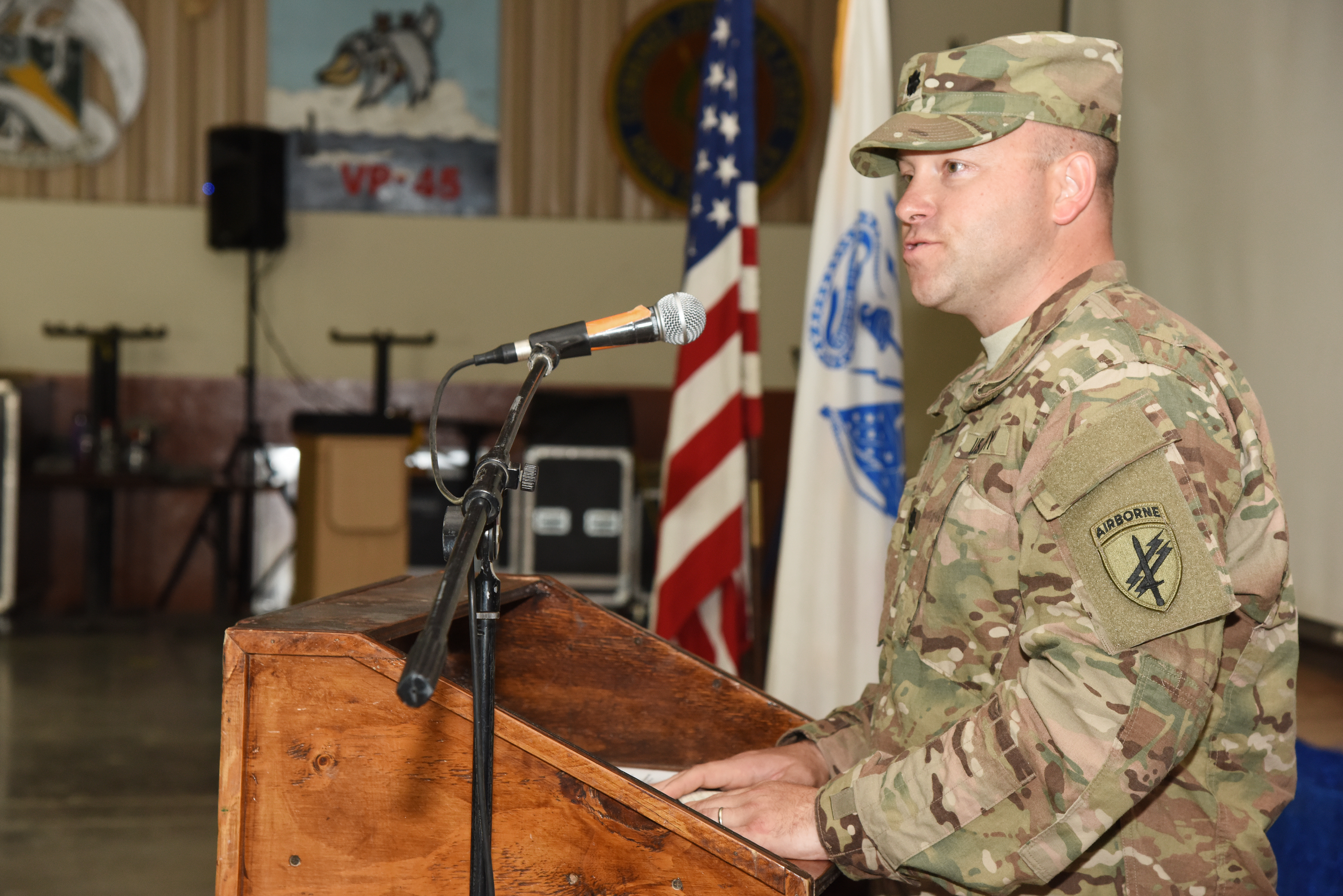 U.S. Army Lt. Col. Gerry Dolan, 415th Civil Affairs Battalion commander, addresses soldiers at a transfer of authority ceremony June 22, 2015, in Djibouti.  The 415th CAB soldiers will take over the responsibilities and tasks that the outgoing CAB performed during their time assigned to Combined Joint Task Force-Horn of Africa.  (U.S. Air Force photo by Staff Sgt. Maria Bowman)