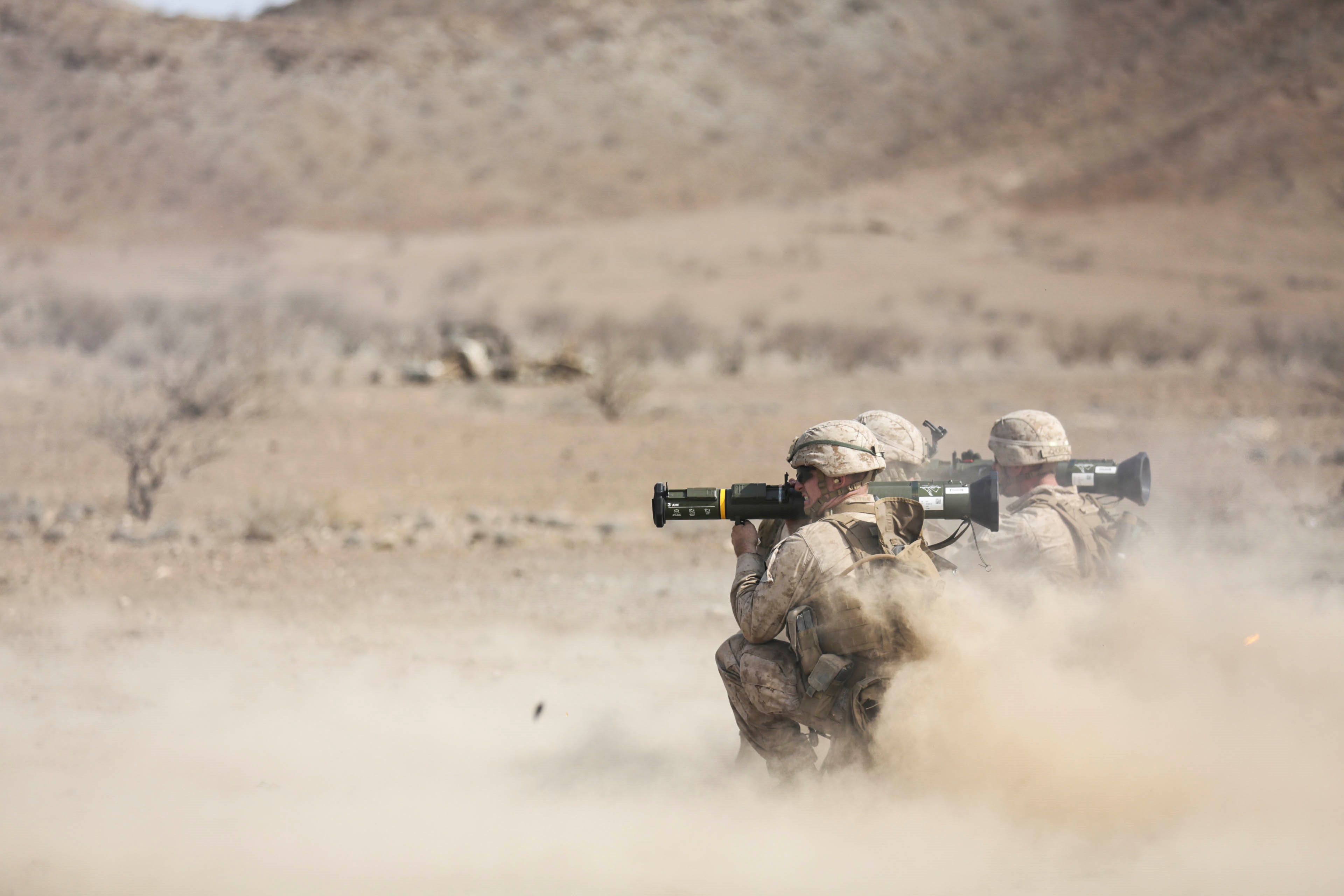 ARTA BEACH, Djibouti (July 22, 2015) U.S. Marines with Battalion Landing Team 3rd Battalion, 1st Marine Regiment, 15th Marine Expeditionary Unit, fire AT-4 rockets during a rocket training exercise.  Elements of the 15th Marine Expeditionary Unit are ashore in Djibouti for sustainment training to maintain and enhance the skills they developed during their pre-deployment training period.  The 15th MEU is currently deployed conducting maritime security operations in the 5th and 6th Fleet areas of responsibility.  (U.S. Marine Corps photo by Sgt. Jamean Berry/Released)