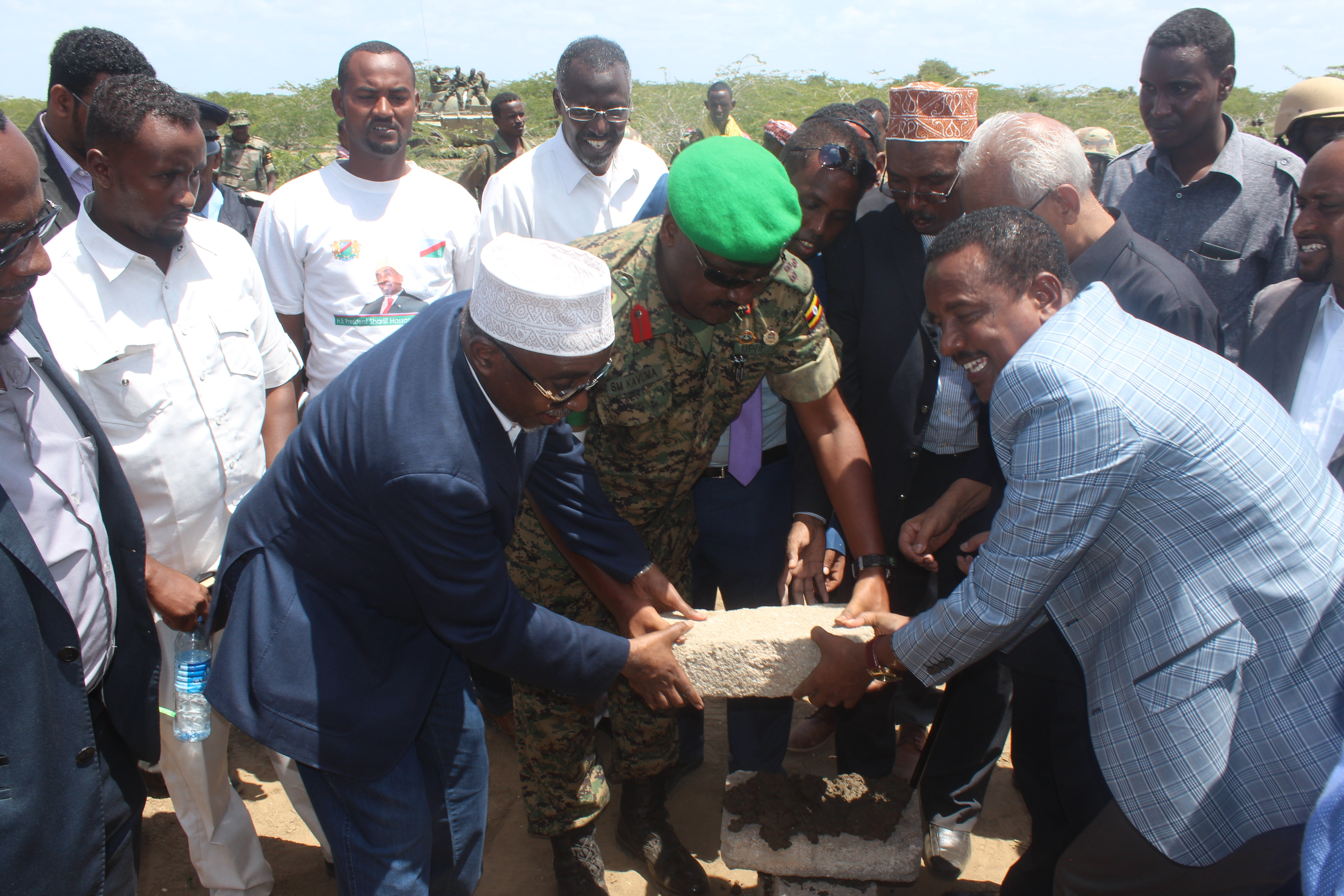 Recently, officials from AMISOM and the Interim South West Administration (ISWA) laid a stone marker on the site of an airport to be constructed in Barawe, Somalia signifying joint efforts for physical infrastructural development in the lower Shabelle region. (UPDF-Uganda Courtesy Photo)