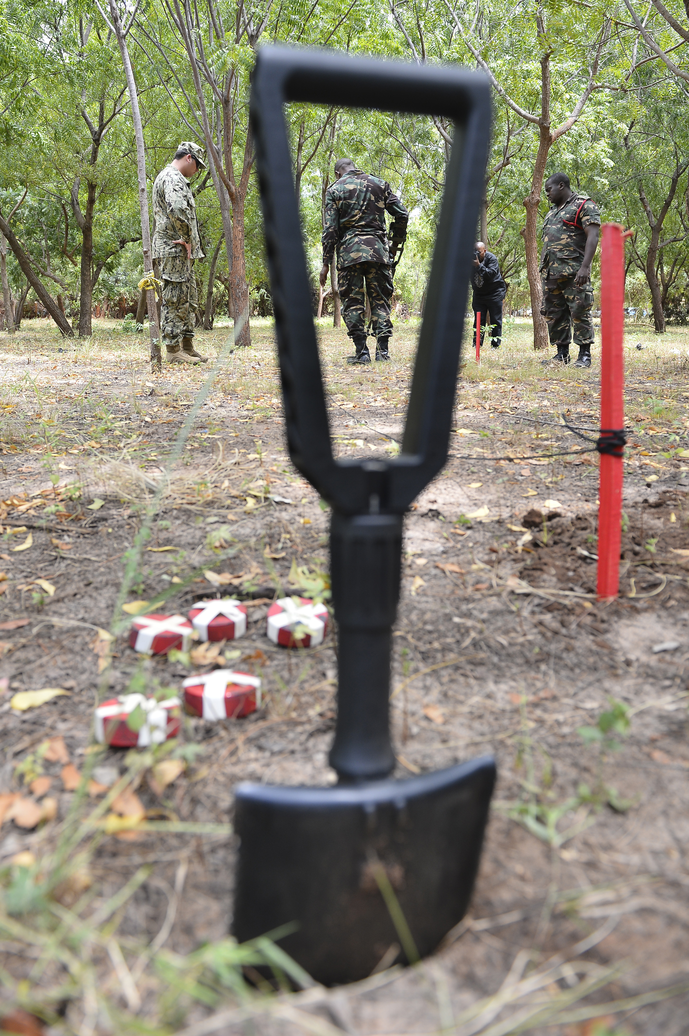 An Explosive Ordnance Disposal Technician assigned to Combined to Joint Task Force- Horn of Africa, left, coaches Tanzania People's Defense Force ammunition technicians and officers through metal detector sweeps at the Peace Keeping Training Center in Dar es Salaam, Tanzania Aug. 23, 2015. EOD technicians shared best practices during a Humanitarian Mine Action Course, focusing on ordnance identification; safety, and tactical combat casualty care procedures. (U.S. Air Force photo by Senior Airman Nesha Humes)