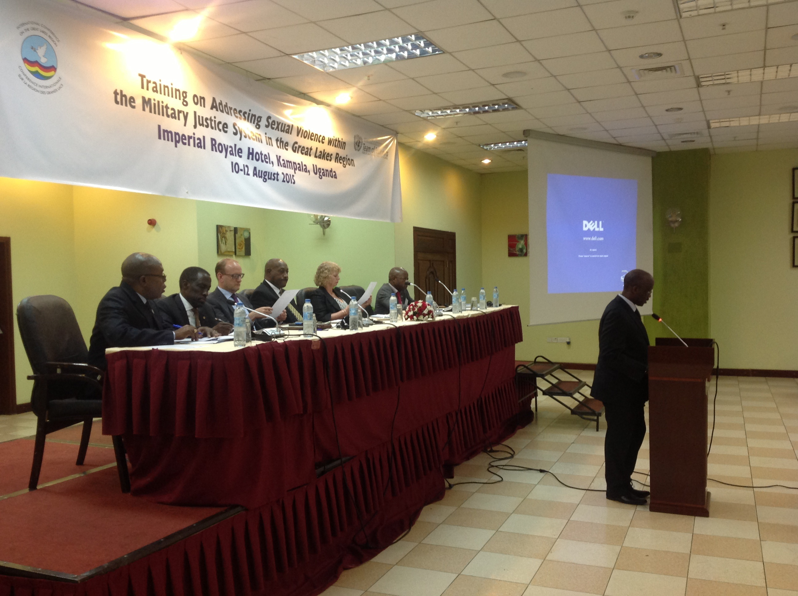 A speaker gives a presentation at the International Conference on the Great Lakes Region Regional Training Facility In Kampala, Uganda.  The training addressed sexual violence within the military justice system, and was held Aug. 10-12, 2015.  (Courtesy photo)