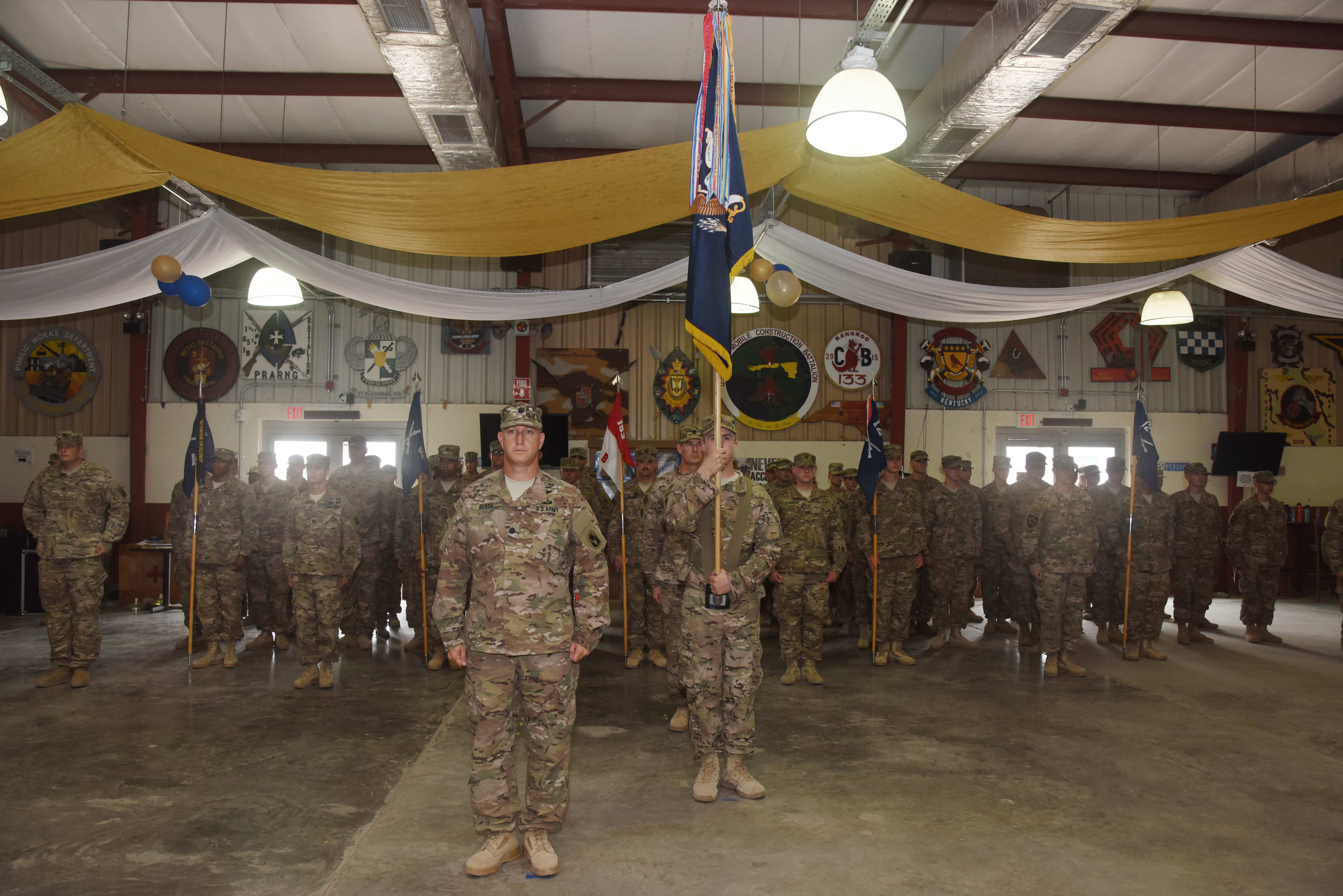 The 2nd Battalion. 124th Infantry Regiment soldiers stand in formation during a transfer of authority ceremony at Camp Lemonnier, Djibouti, Sept. 24, 2015.  The soldiers will take over the responsibilities and tasks that the 1st BN, 77th Armor Regiment performed during their time assigned to the Combined Joint Task Force-Horn of Africa.  (U.S. Air Force photo by Staff Sgt. Maria Bowman)