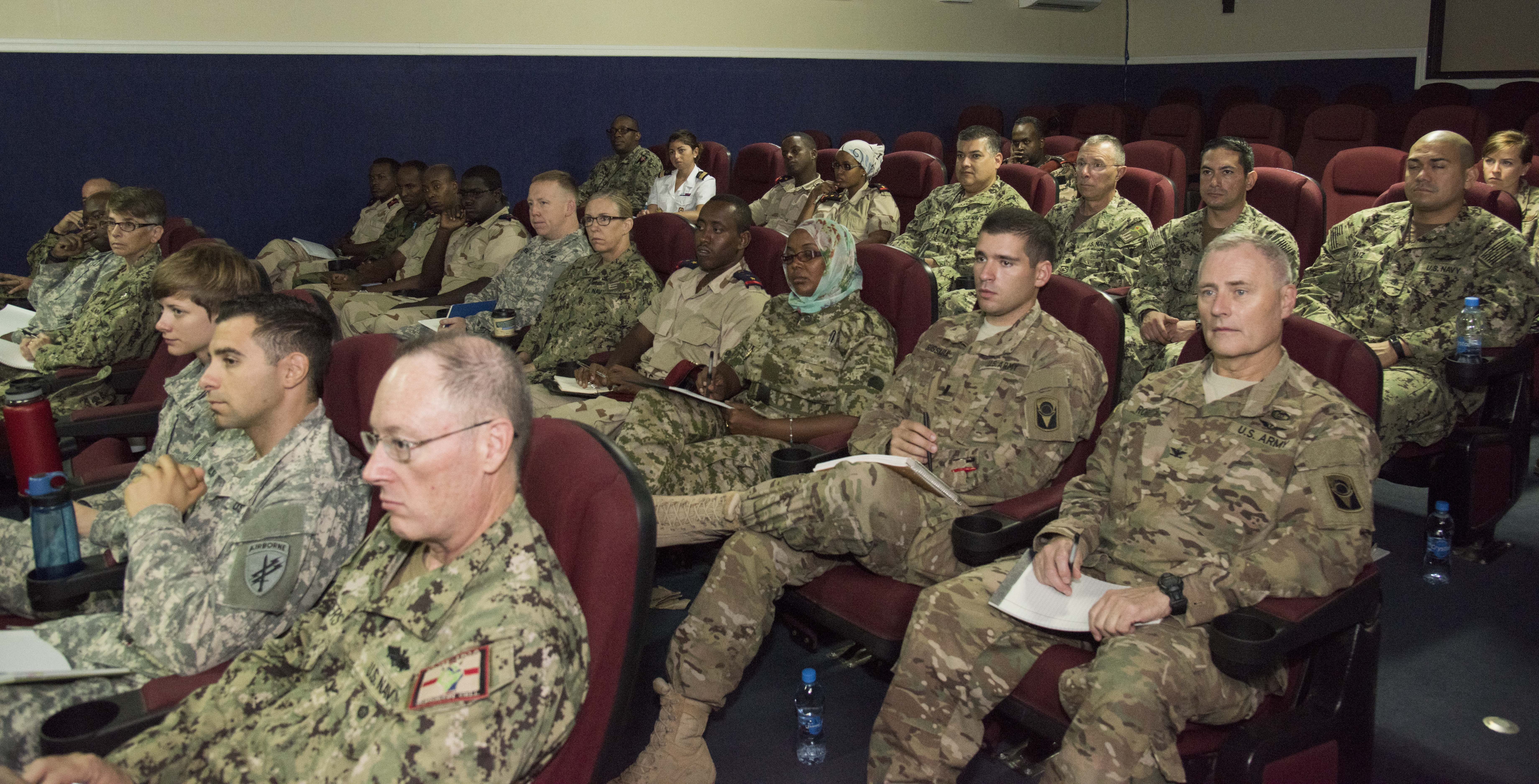 Medical professionals from U.S., French and Djiboutian armed forces gathered for a Military Tropical Medicine Course at Camp Lemonnier, Djibouti, Oct. 20 to 22, 2015. The course was an exchange of knowledge and experience about diseases common to the Horn of Africa and around the world. (U.S. Air Force photo by Staff Sgt. Victoria Sneed)