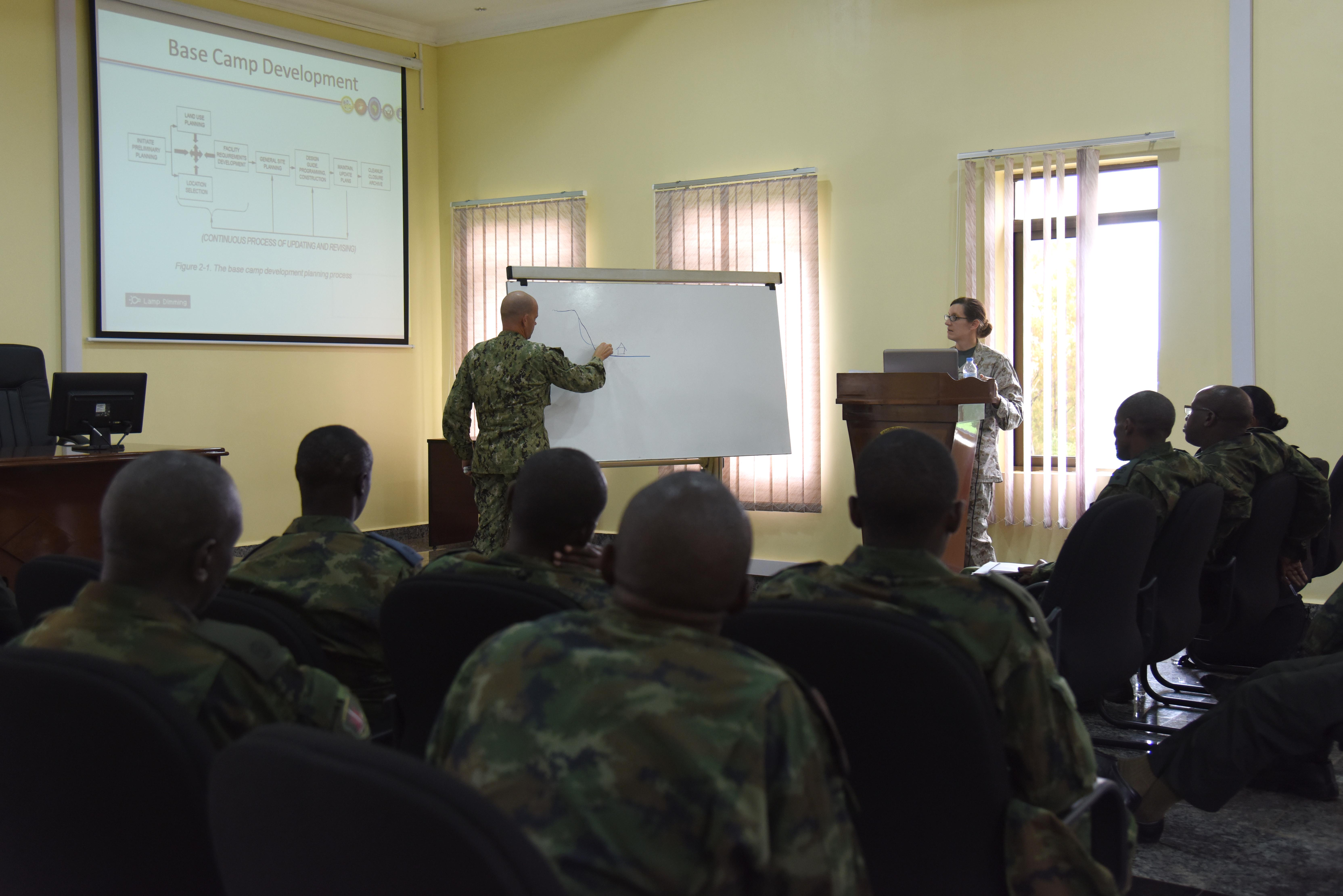 Engineers from Combined Joint Task Force–Horn of Africa answer questions from Rwandan Defense Force engineers during an exchange of best practices at the RDF Engineering Brigade Headquarters near Kigali, Rwanda, Dec. 15, 2015. CJTF-HOA members explained U.S. military base camp planning processes to compare and contrast with those used by the RDF. (U.S. Air Force photo by Staff Sgt. Victoria Sneed)