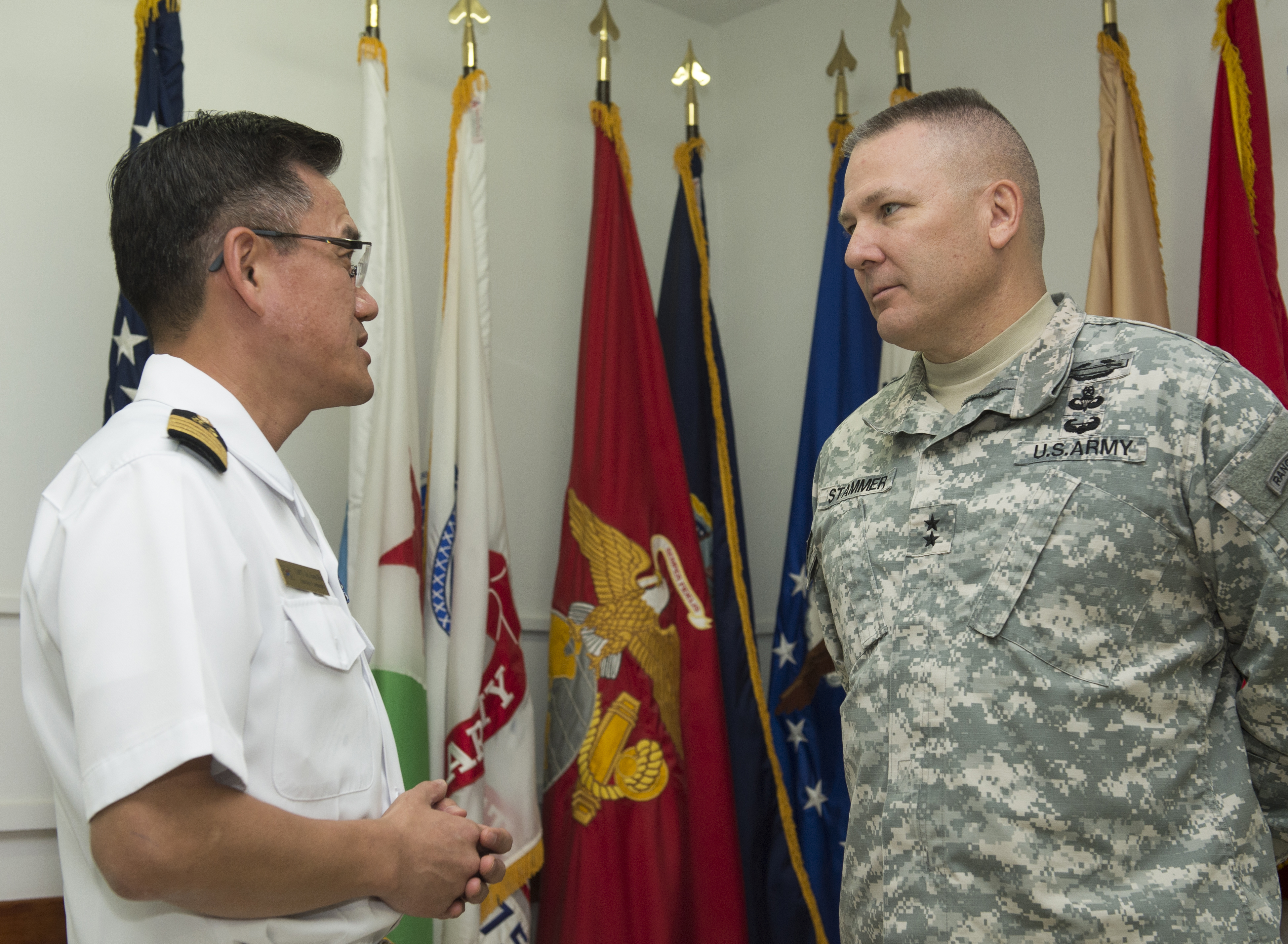 Maj. Gen. Mark Stammer meets with Republic of Korea Navy Capt. Sangmin An, ROK Naval Escort Task Group 20th commander, Dec. 21, 2015, at Camp Lemonnier, Djibouti. The Republic of Korea provides two foreign liaison officers who support the sharing of information and best practices between CJTF-HOA and the Republic of Korea. Capt. Sangmin An invited members of CJTF-HOA to celebrate the 70th anniversary of the inauguration of the Republic of Korea's Navy and the ongoing, mutually beneficial relationship between the United States and Republic of Korea. (U.S. Air Force photo by Senior Airman Peter Thompson)