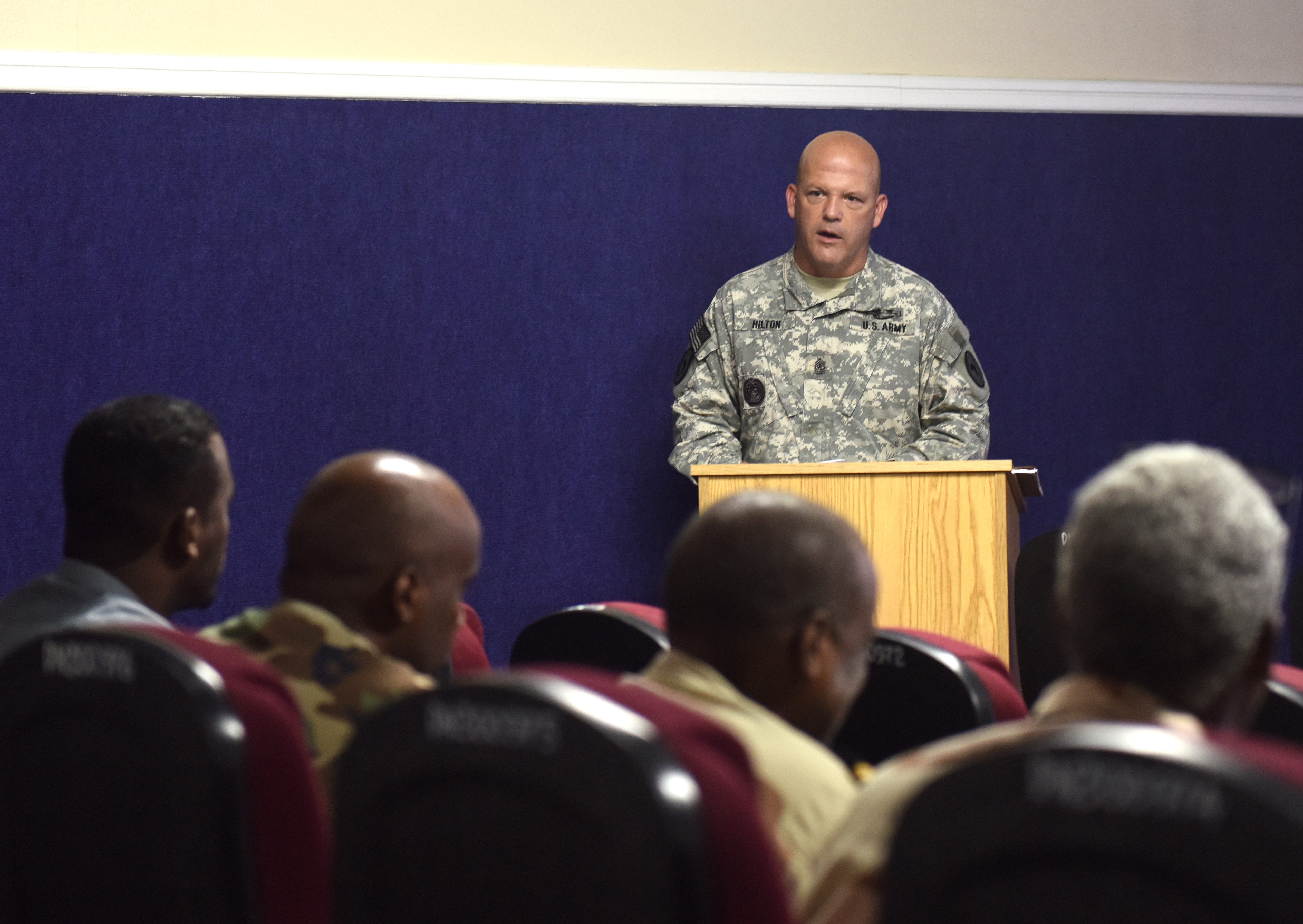 U.S. Army Sgt. Maj. John Hilton, Combined Joint Task Force-Horn of Africa Fusion Action Cell lessons learned officer, speaks to senior enlisted leaders of the Djibouti Armed Forces Dec. 29, 2015, at Camp Lemonnier, Djibouti. Key leaders shared knowledge with Djiboutian SELs during their first visit to the base. (U.S. Air Force photo by Staff Sgt. Kate Thornton)