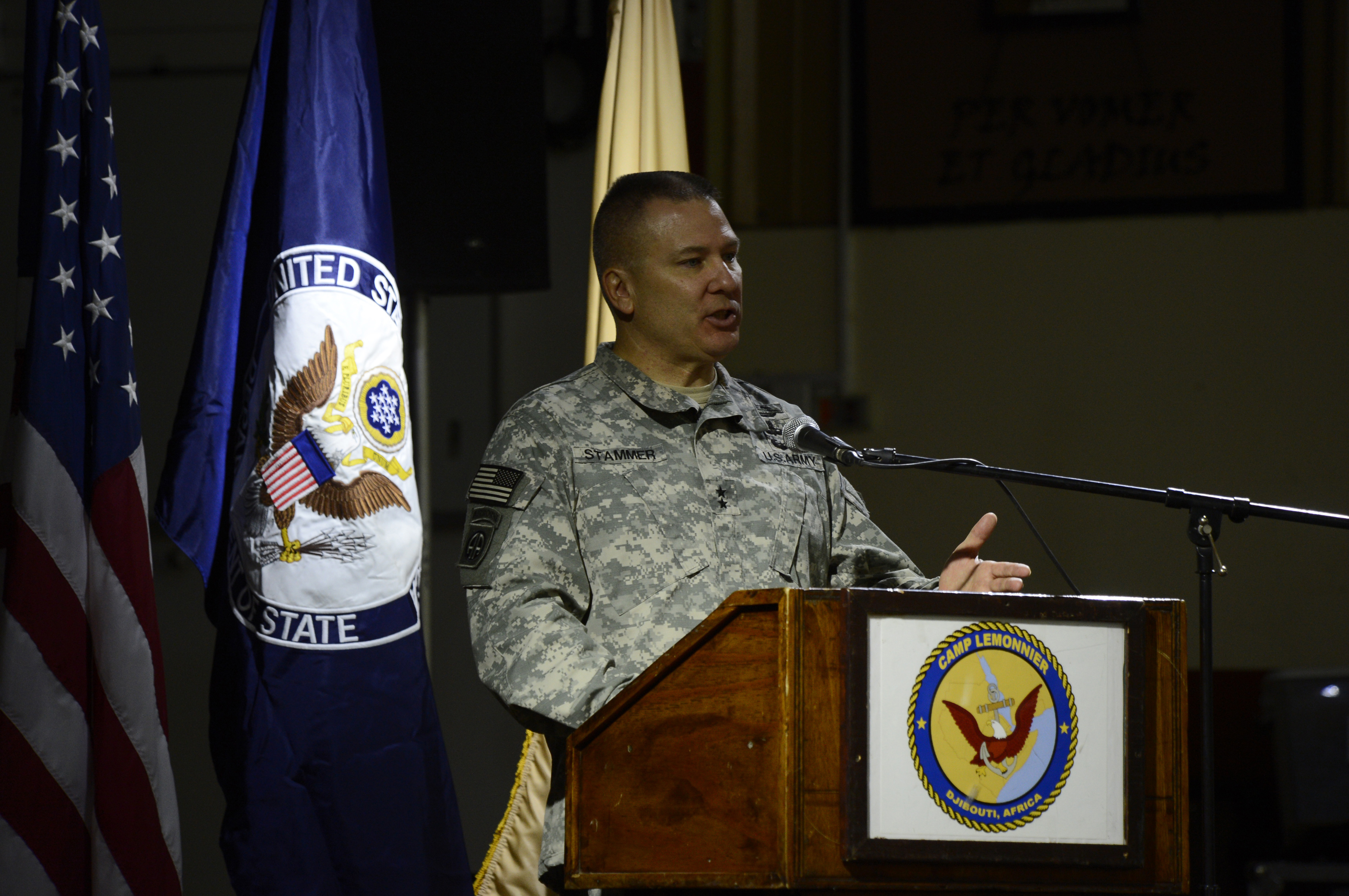 U.S. Army Maj. Gen. Mark Stammer, Combined Joint Task Force-Horn of Africa commanding general, speaks to attendees at the conclusion of the East Africa Security Synchronization Conference Jan. 22, 2016, at Camp Lemonnier, Djibouti. The conference provided an opportunity for attendees to better understand the benefits of a regional approach to African security instead of strictly country-focused planning. (U.S. Air Force photo by Senior Airman Peter Thompson)