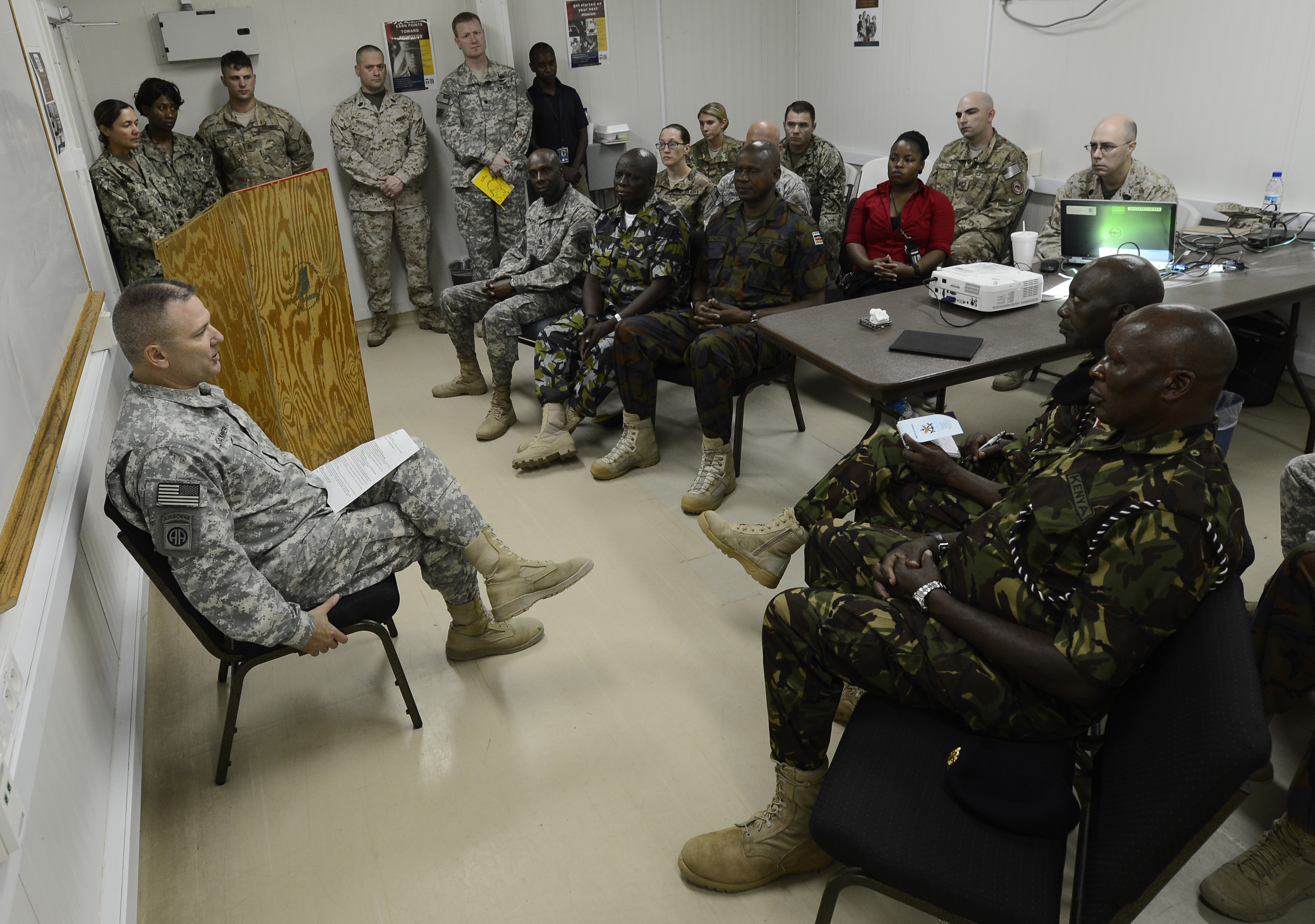 U.S. Army Maj. Gen. Mark Stammer, Combined Joint Task Force-Horn of Africa commanding general, speaks with sergeants major from the Kenya Defence Forces Feb. 10, 2016, at Camp Lemonnier, Djibouti. Kenya is one of the five troop contributing countries to the African Union Mission in Somalia, and is the second largest of the three countries bordering Somalia. (U.S. Air Force photo by Senior Airman Peter Thompson)