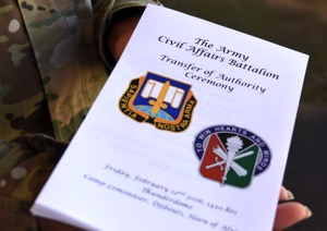 The U.S. Army Civil Affairs Battalion assigned to Combined Joint Task Force-Horn of Africa conducted a transfer of authority ceremony Feb. 12, 2016, at Camp Lemonnier, Djibouti. The 415th Civil Affairs Battalion arrived in Djibouti June 11, 2015, and has been working hand-in-hand with the local Djiboutian populace, authorities, Djibouti Armed Forces, and other integral organizations. (U.S. Air Force photo by Staff Sgt. Kate Thornton/Released)