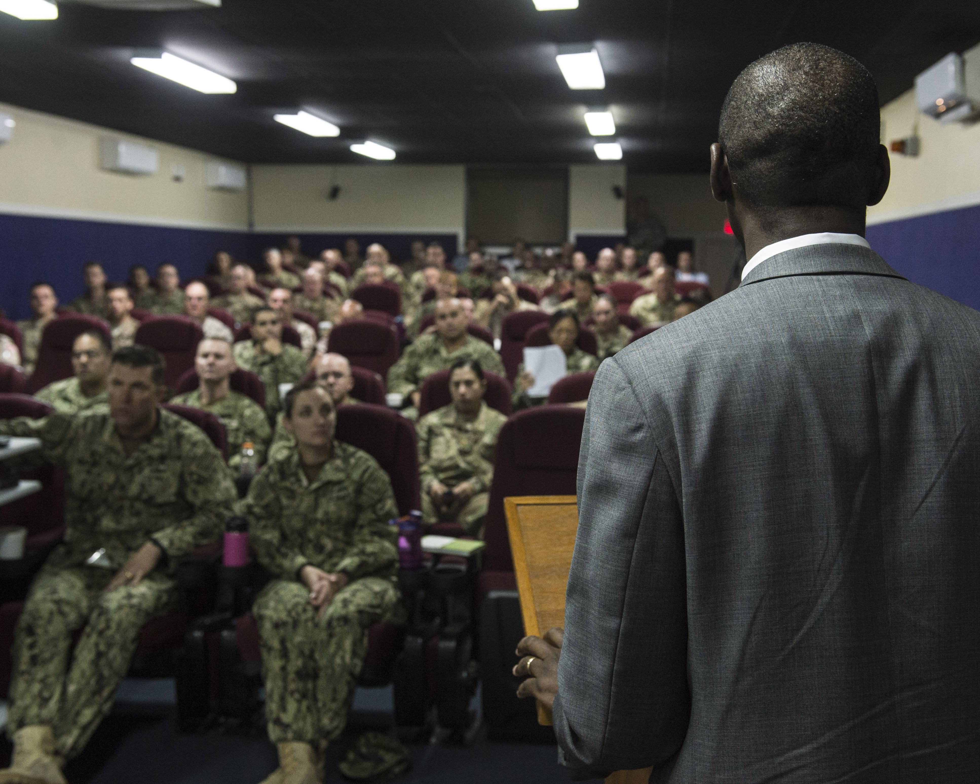 Dr. Raymond Gilpin, Africa Center for Strategic Studies academic dean, discusses African contemporary security trends Mar. 1, 2016, at Camp Lemonnier, Djibouti. The Africa Center for Strategic Studies is a Department of Defense organization dedicated to supporting U.S. foreign and security policies. Combined Joint Task Force-Horn of Africa hosted the ACSS to discuss current issues and to learn more about the countries in East Africa. (U.S. Air Force photo by Staff Sgt. Peter Thompson)