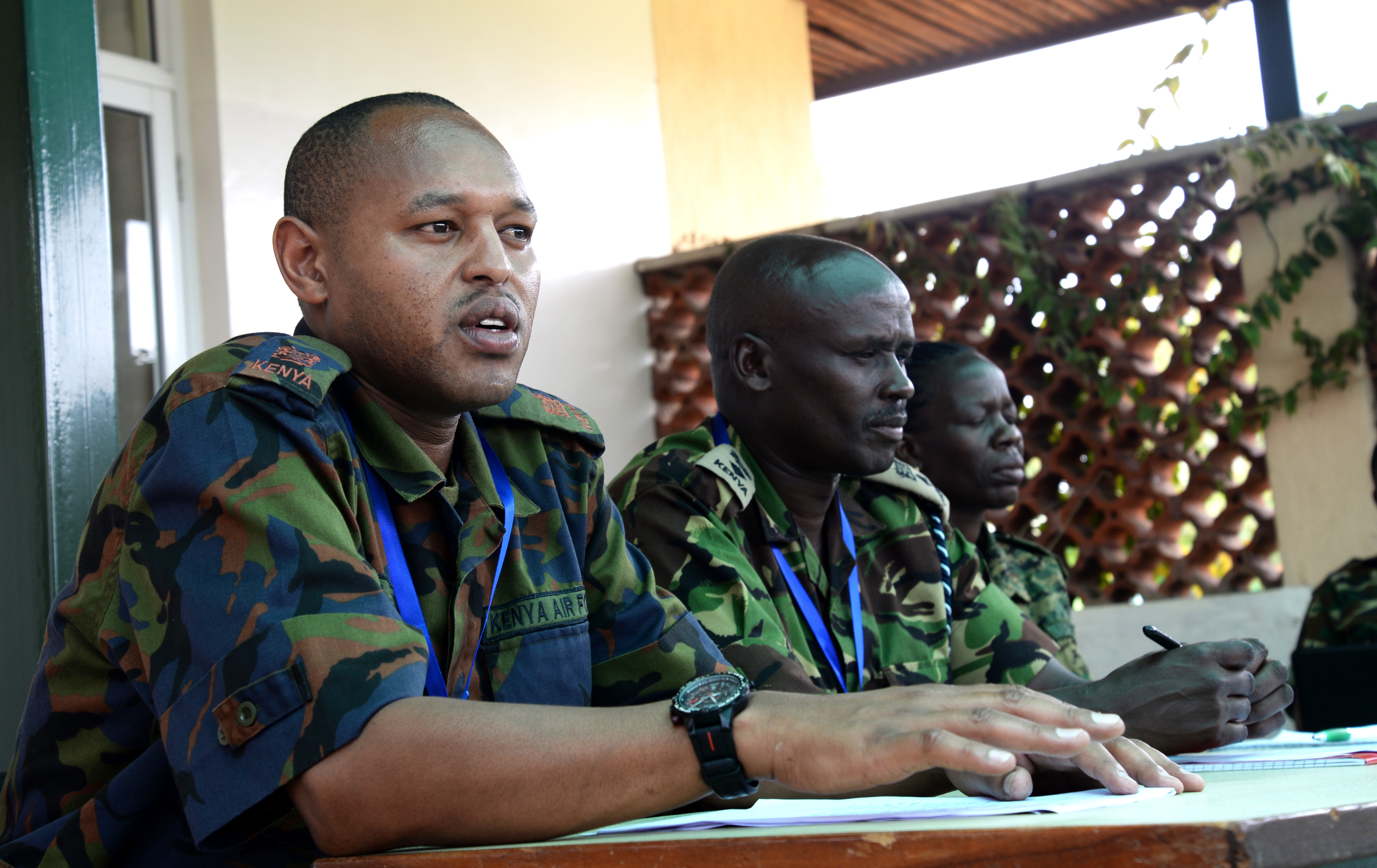An officer from the Kenya Defence Forces speaks to media at a simulated press conference March 3, 2016, during an exercise to complete a staff officers course in Nairobi, Kenya. The press conference tested the different directorate officers' ability to answer questions accurately, confidently and without revealing sensitive military information. (U.S. Air Force photo by Staff Sgt. Kate Thornton)