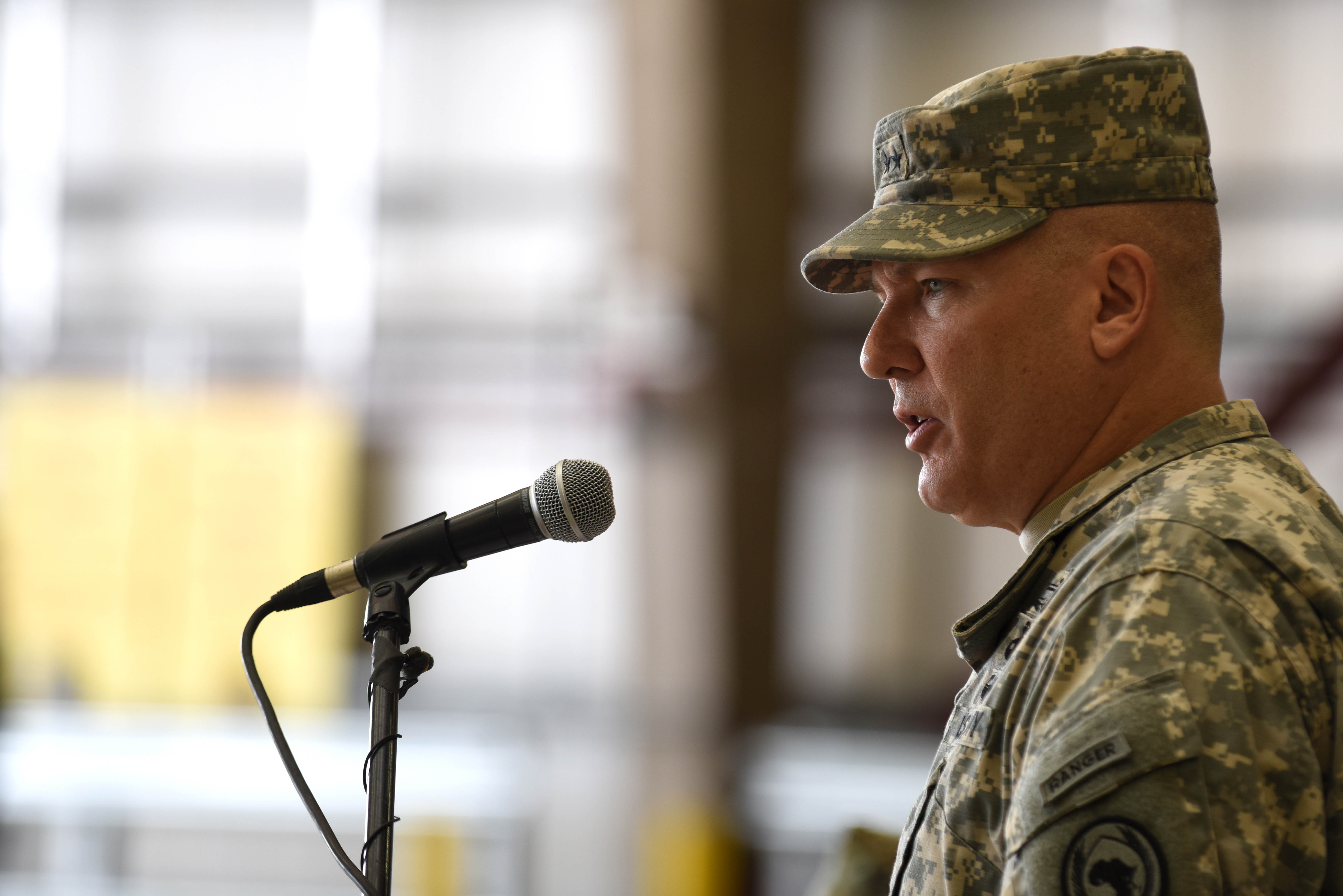 U.S. Army Maj. Gen. Mark Stammer, departing Combined Joint Task Force-Horn of Africa commanding general, speaks at a change of command ceremony April 13, 2016, at Camp Lemonnier, Djibouti. Stammer arrived at CJTF-HOA a year ago and will now be the deputy commander of the I Corps at Joint Base Lewis-McChord, Wash. (U.S. Air Force photo by Staff Sgt. Kate Thornton)