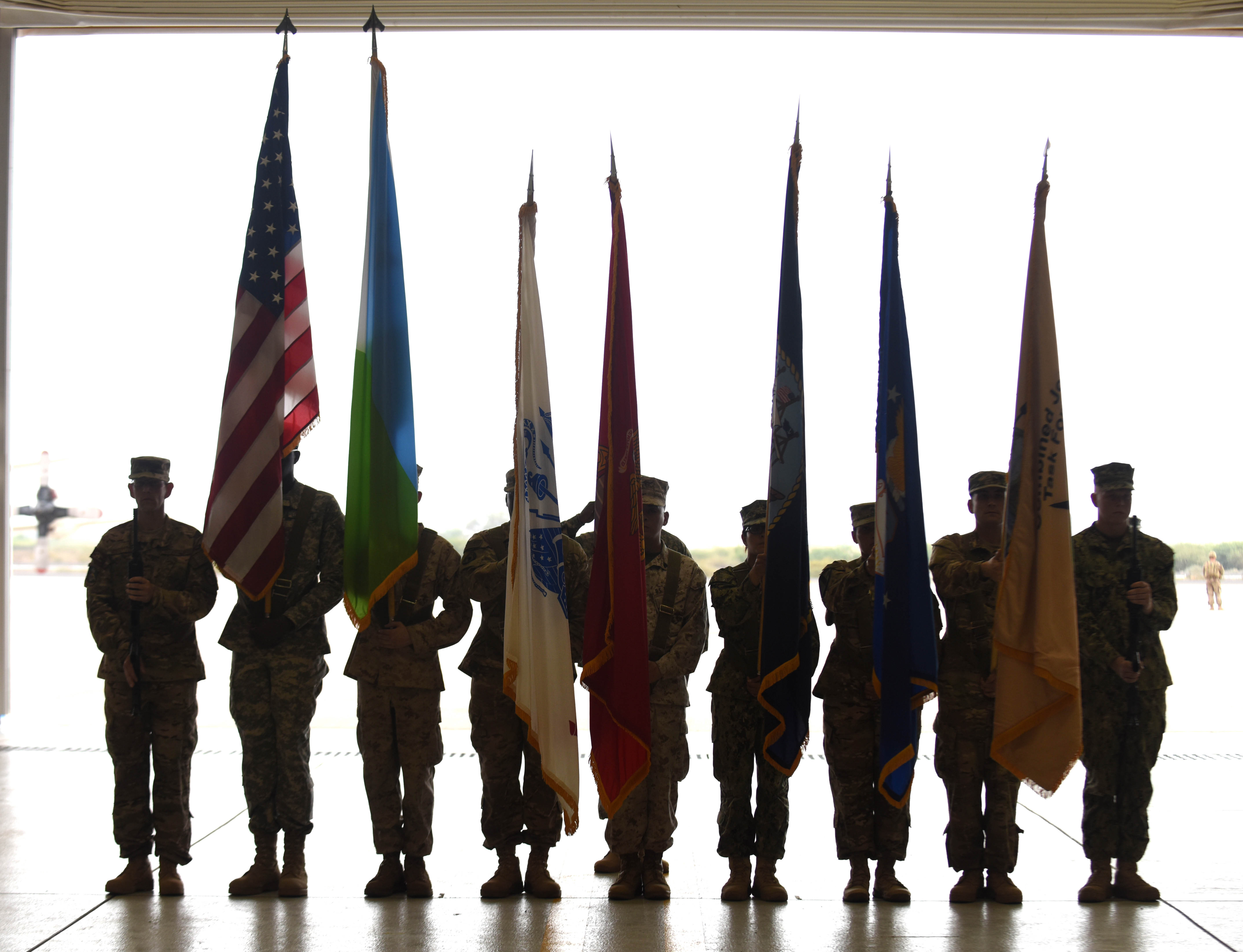 U.S. military members stand in a color guard formation during a change of command ceremony for Combined Joint Task Force-Horn of Africa April 13, 2016, at Camp Lemonnier, Djibouti. The ceremony officially transferred command of the task force from U.S. Army Maj. Gen. Mark Stammer to U.S. Army Brig. Gen. Kurt Sonntag. (U.S. Air Force photo by Staff Sgt. Kate Thornton)