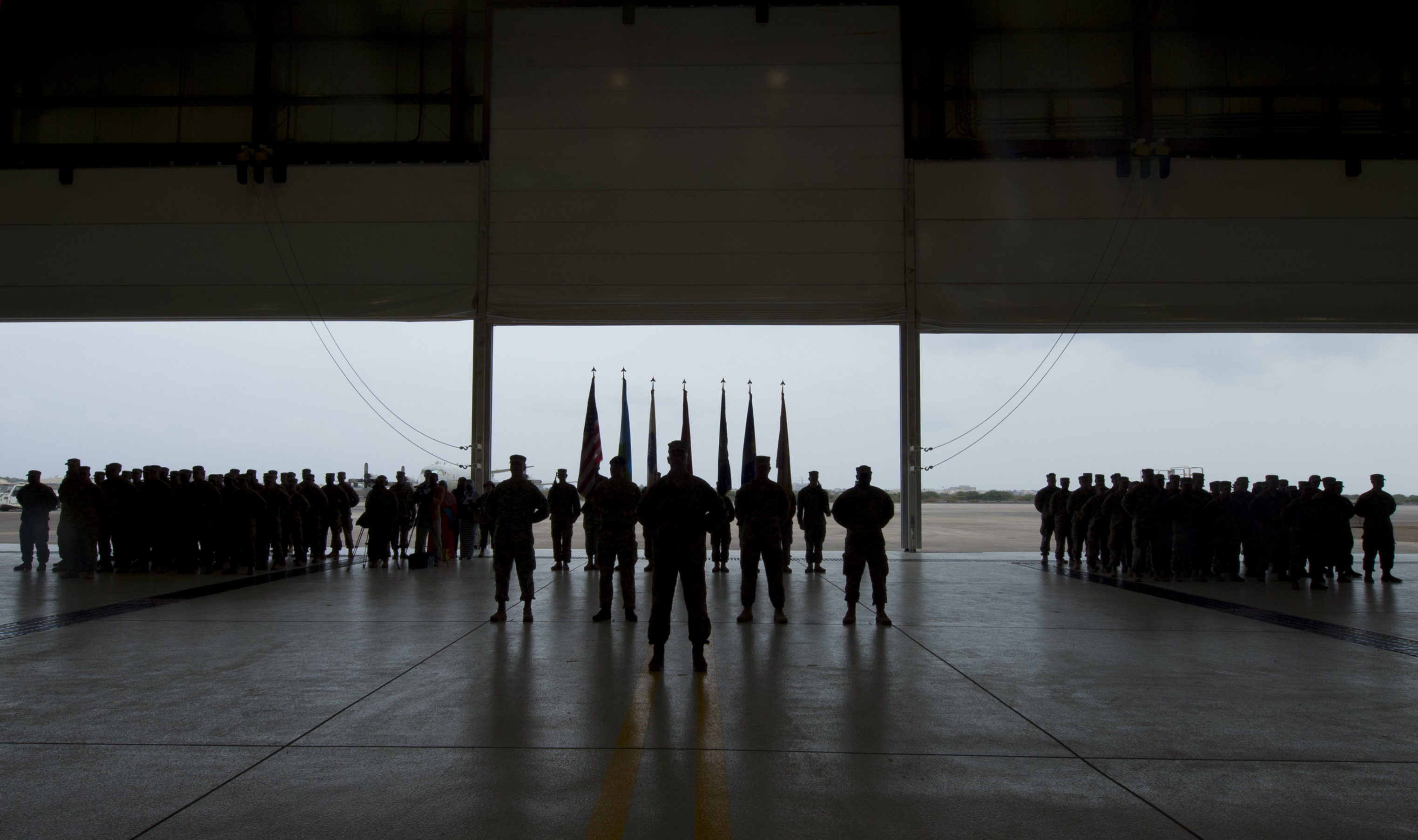 Soldiers, Marines, Sailors, and Airmen stand in formation during the Combined Joint Task Force-Horn of Africa change of command ceremony April 13, 2016, at Camp Lemonnier, Djibouti. The formation represented the joint services that U.S. Army Brig. Gen. Kurt Sonntag, CJTF-HOA commander, will be responsible for after assuming command. (U.S. Air Force photo by Staff Sgt. Eric Summers Jr.)