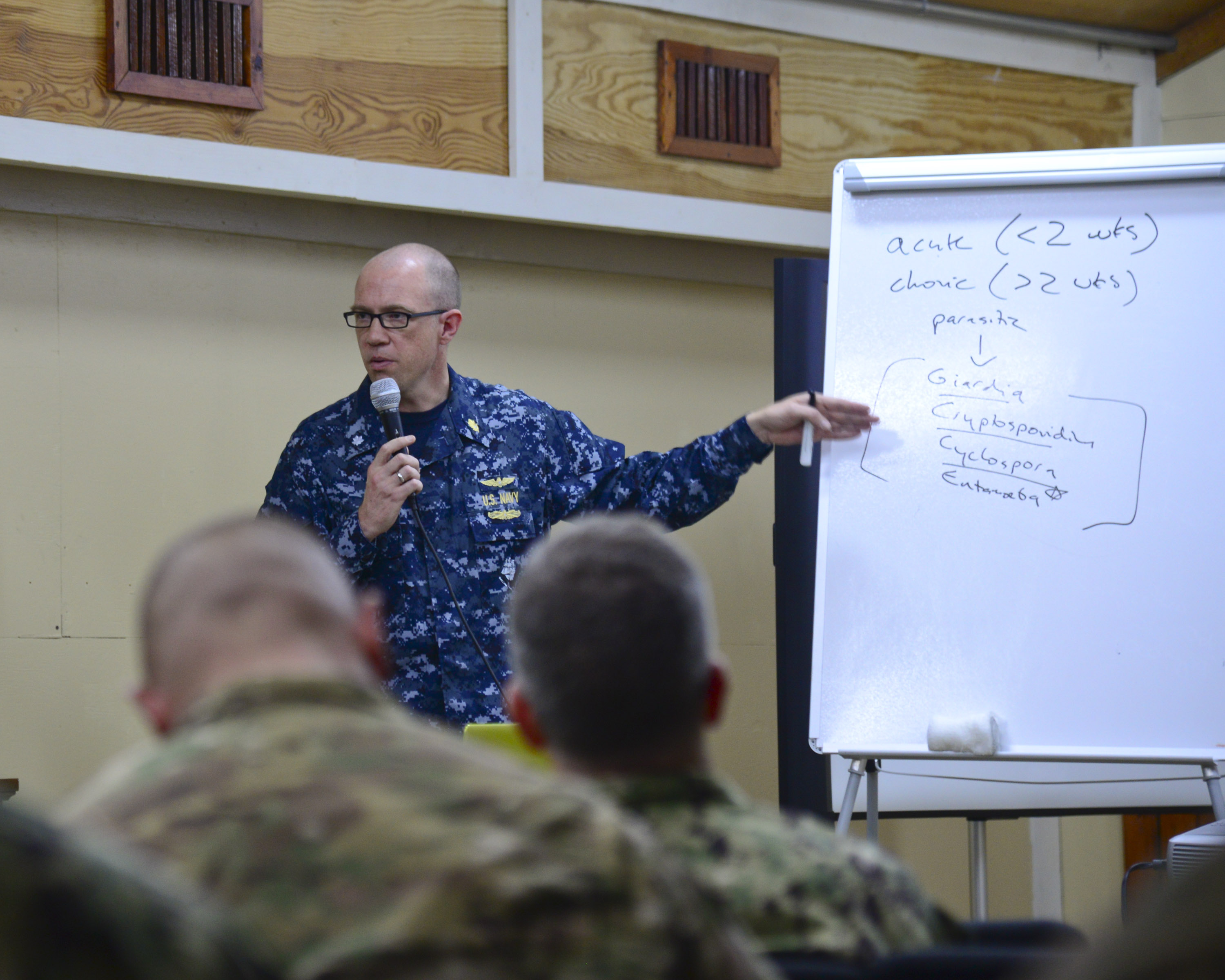 U.S. Navy Commander Ryan Maves, physician of infectious diseases, teaches medical professionals about illnesses during the Military Tropical Medicine seminar May 11, 2016 at Camp Lemonnier, Djibouti. Medical specialists from the U.S., France, Germany, Italy and Djibouti attended the seminar to learn about treating tropical illnesses and diseases and how they affect military personnel in a contingency environment.  (U.S. Air Force photo by Senior Airman Benjamin Raughton/Released)