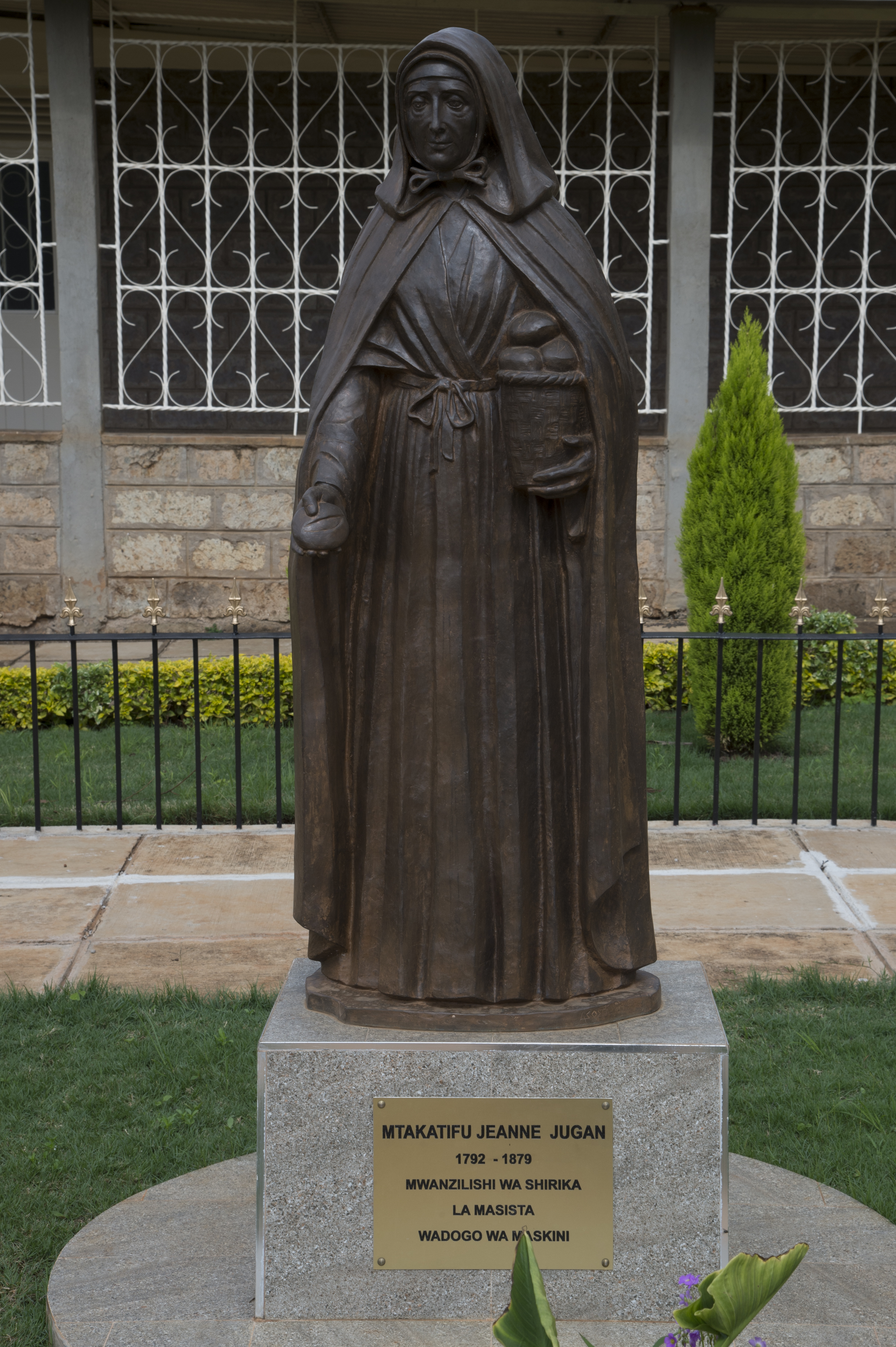 A statue of Saint Jeanne Jugan rests in the courtyard of Nyumba Ya Wazee, or Home of the Elderly, May 9, 2016, in Nairobi, Kenya. Jugan was the foundress of the Little Sisters of the Poor, an organization devoted to helping the less fortunate around the world. The home of the elderly is a sub-organization of the Little Sisters of the Poor that provides shelter and care for older members of society who do not have means to care for themselves. (U.S. Air Force photo by Staff Sgt. Eric Summers Jr.)