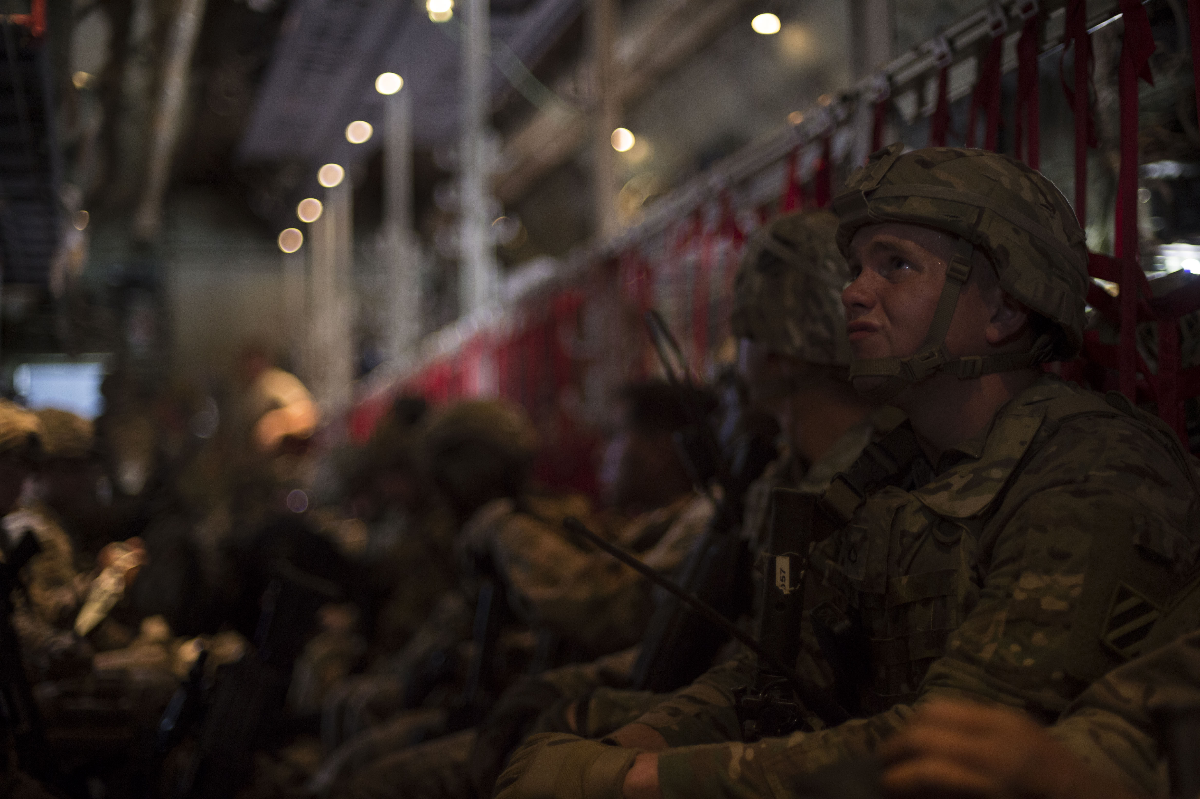 U.S. Army Pfc. Cory Middleton, an East African Response Force member, prepares to fly inside a C-130J Hercules during an EARF validation exercise May 27, 2016, at Camp Lemonnier, Djibouti.  The goal of the exercise was to test Combined Joint Task Force-Horn of Africa's ability to rapidly deploy forces. (U.S. Air Force photo by Staff Sgt. Eric Summers Jr.)