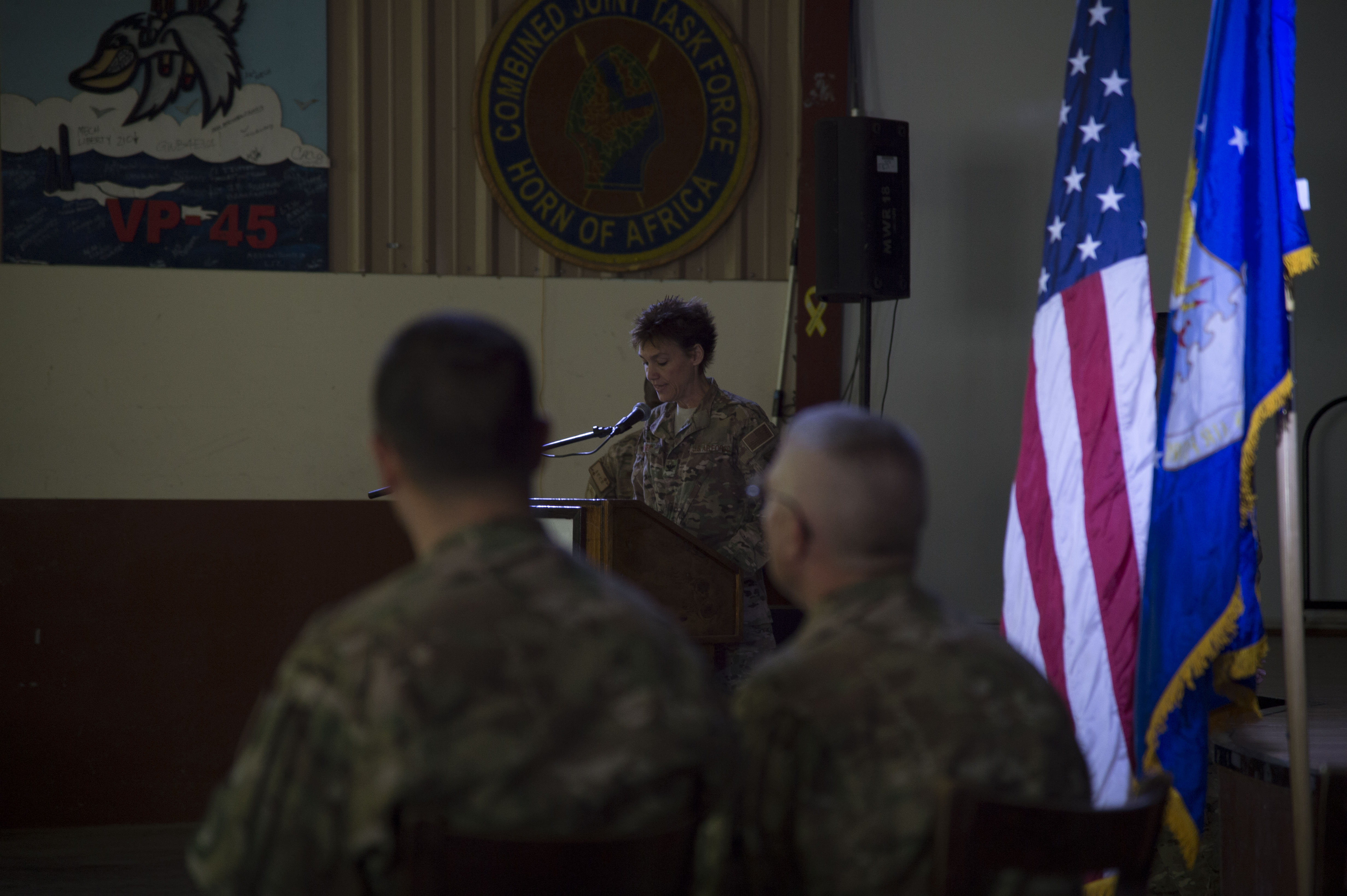 U.S. Air Force Col. Andra Kniep, 435th Air Expeditionary Wing commander and presiding officer, speaks about the achievements of U.S. Air Force Col. Daniel Duffy, 449th Air Expeditionary Group outgoing commander, during the 449th AEG Change of Command ceremony June 6, 2016, at Camp Lemonnier, Djibouti. Assigned to U.S. Forces Africa, The 449th AEG conducts personnel recovery and other operations in support of activities to enable U.S. Air Forces Africa and Combined Joint Task Force-Horn of Africa. (U.S. Air Force photo by Staff Sgt. Eric Summers Jr.)