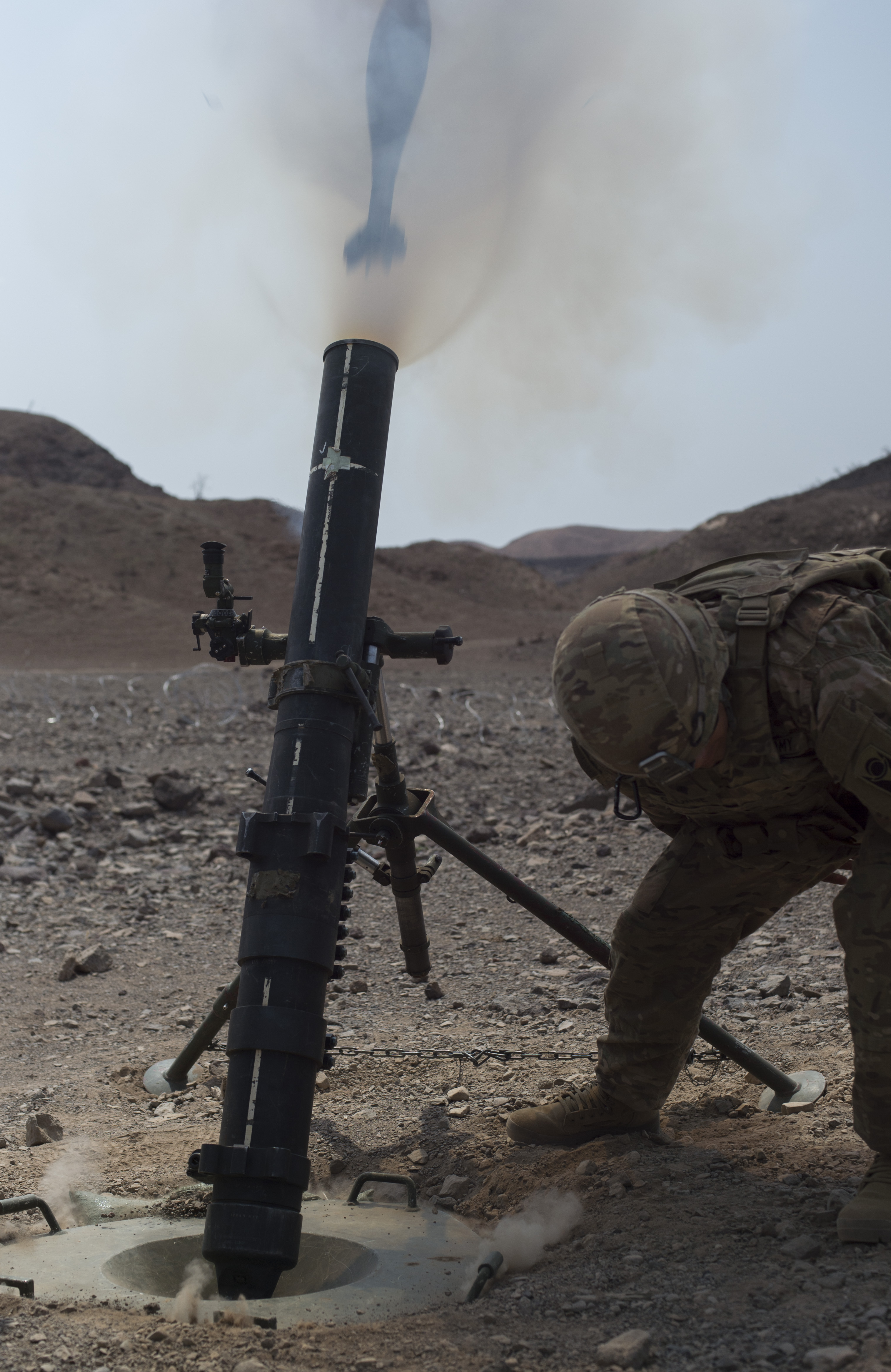 A US Army Soldier From The 1st Battalion 124th Infantry Regiment Bravo Company Fires