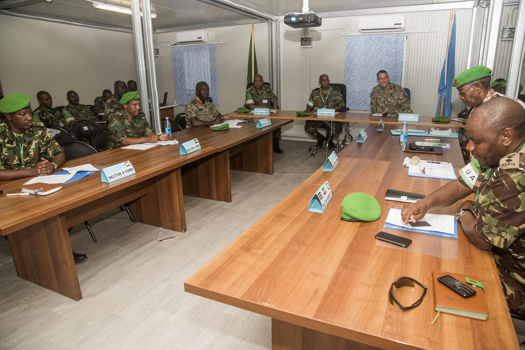 MOGADISHU, Somalia- U.S. Navy Rear Adm. William Wheeler (center), Combined Joint Task Force-Horn of Africa deputy commander, attends an African Union Mission in Somalia/Somali National Army Sector Commanders' conference, Aug. 25, 2016, at the AMISOM Force Headquarters in Mogadishu, Somalia. The conference brought together senior military leaders from each sector to review efficiency and needed improvements for security operations and SNA collaboration strategies. Djibouti, Kenya, Uganda, Ethiopia, and Burundi are the five AMISOM nations who contribute combat troops to the security of Somalia.  (U.S. Air Force photo by Staff Sgt. Tiffany DeNault)