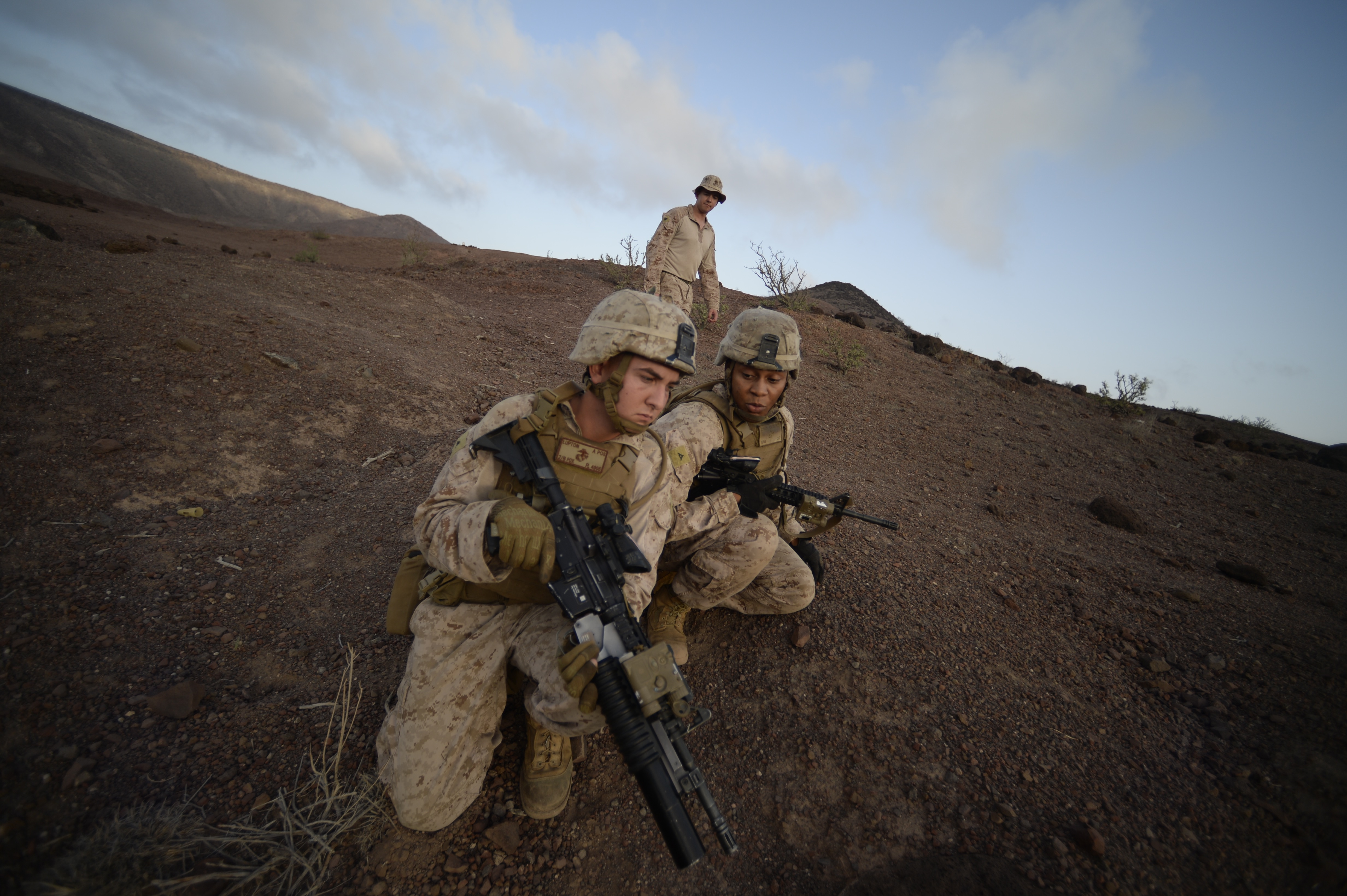 ARTA, Djibouti – U.S. Marine Corps Lance Cpls. Jonathan Lupton and Quintin Johnson, Special-Purpose Marine Air-Ground Task Force Crisis Response-Africa (SPMAGTF-CR-AF), practice small arms fire team training before the live fire range drill, Oct. 5, 2016, at Arta, Djibouti. Assigned to Combined Joint Task Force-Horn of Africa, SPMAGTF-CR-AF completed team level range drills to continue sustainment of core skills and build from individual skill levels. The next level of training will consist of squad training. (U.S. Air Force photo by Staff Sgt. Rion Ehrman)