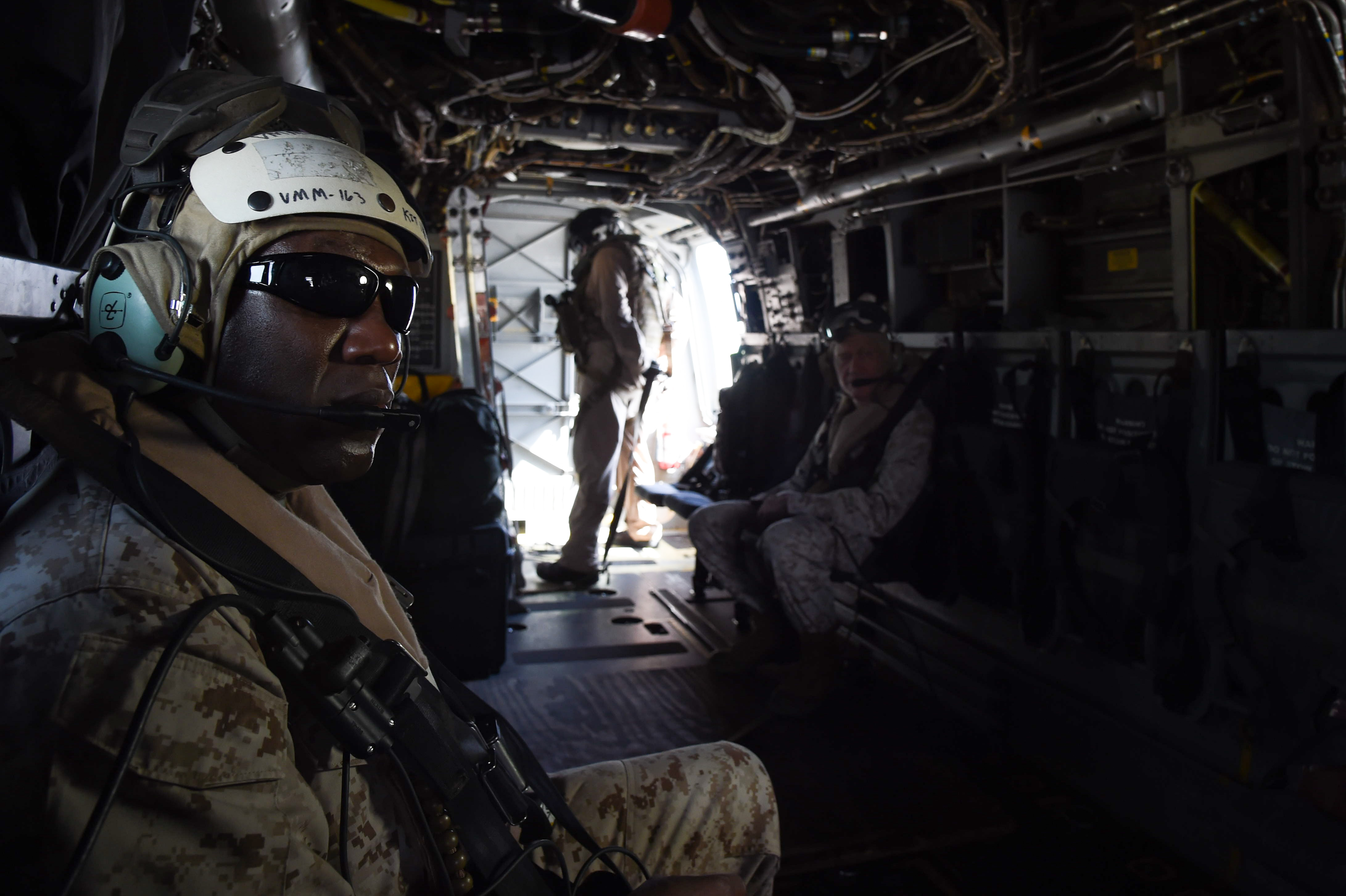 Sgt. Maj. Ronald Green, Sergeant Major of the Marine Corps, prepares for a flight in an MV-22 Osprey departing Camp Lemonnier, Djibouti, Dec. 23, 2016. The Commandant and Sergeant Major of the Marine Corps traveled from camp to the USS Makin Island (LHD 8) to speak with Marines and Sailors stationed overseas and forward deployed. (U.S. Air National Guard photo by Staff Sgt. Penny Snoozy)