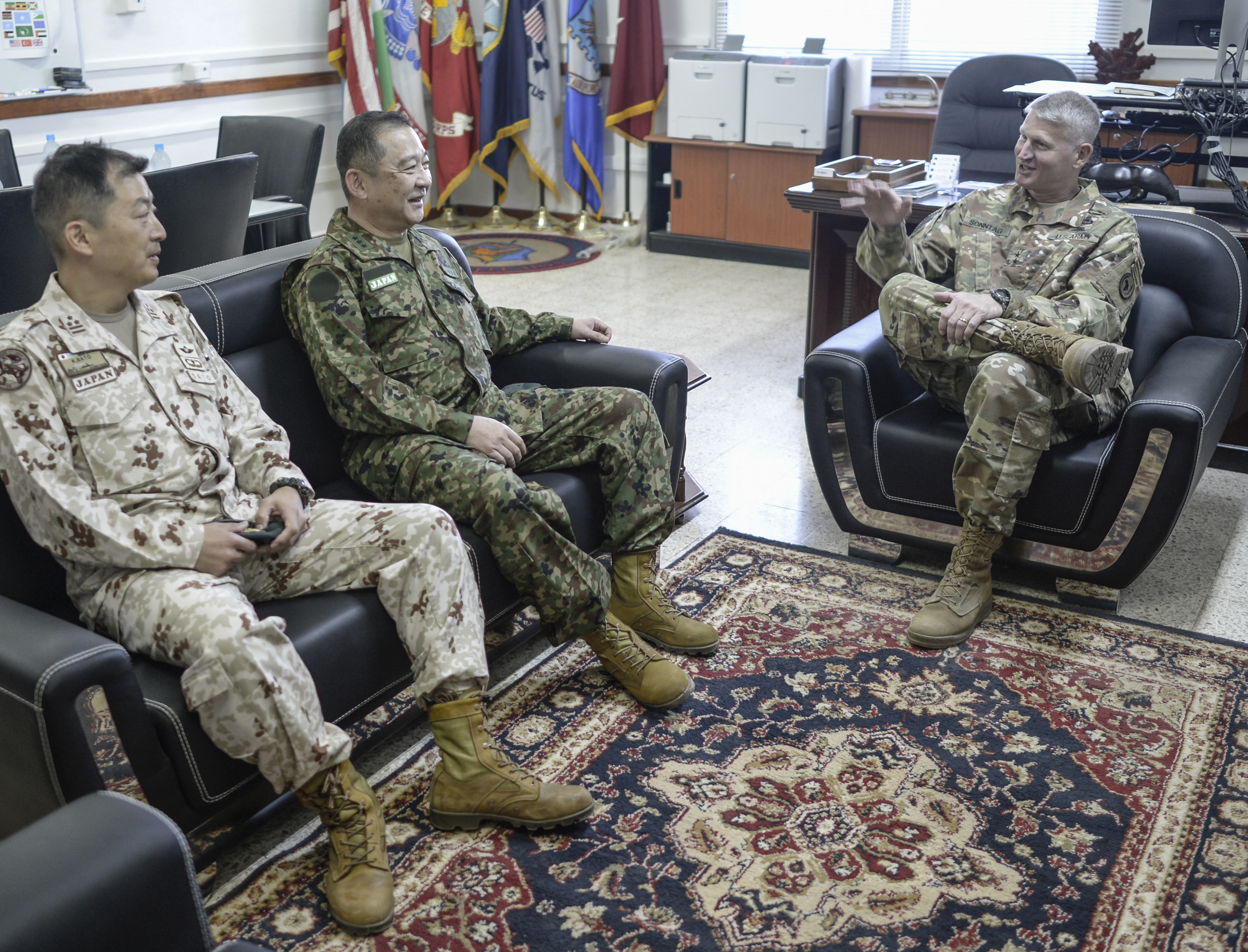 Lt. Gen. Goro Yuasa, vice chief of the Joint Staff of the Japan GroundSelf-Defense Forces meets with U.S. Army Major Gen. Kurt Sonntag,commander, Combined Joint Task Force-Horn of Africa, on his visit toCamp Lemonnier Jan. 14, 2017. Lt. Gen. Yuasa met with U.S. officials at Camp Lemonnier to further relations between Japan and its partner nations in the Horn of Africa. (U.S. Air National Guard photo by Staff Sgt. Christian Jadot)