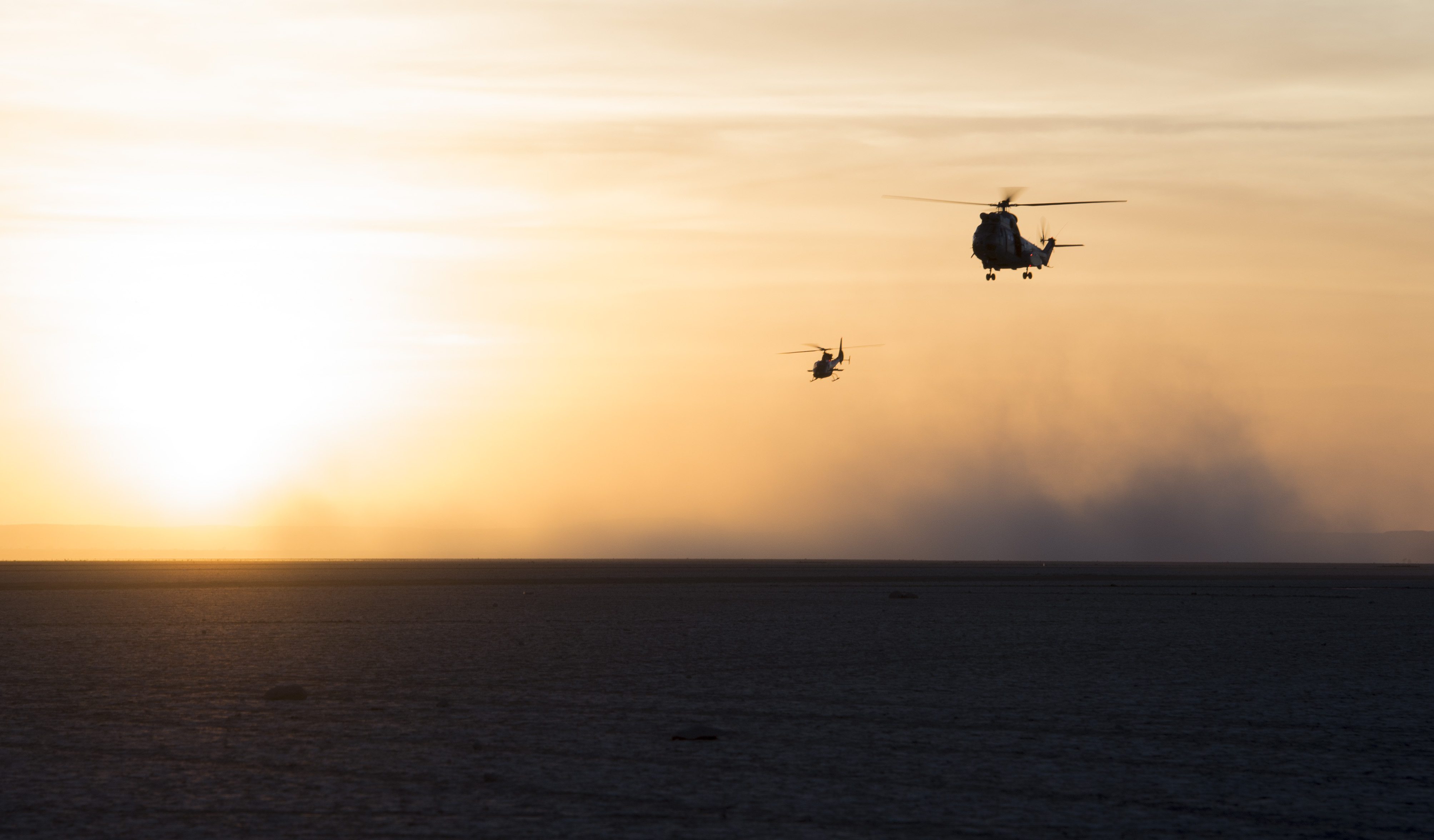 A French SA 330 Puma transport helicopter escorted by an SA 342 Gazelle utility helicopter approach a designed landing site to make a low aerial pass during the French live fire demonstration near Grand Bara, Djibouti, Jan. 14, 2017. The SA 330 Puma is a medium lift all-weather helicopter capable of transporting up to 16 people in and out of a battlefield. The SA 342 Gazelle is a light, five-seat helicopter often used by various militaries for reconnaissance and light attack duties. (U.S. Air National Guard photo by:  Staff Sgt. Christian Jadot)