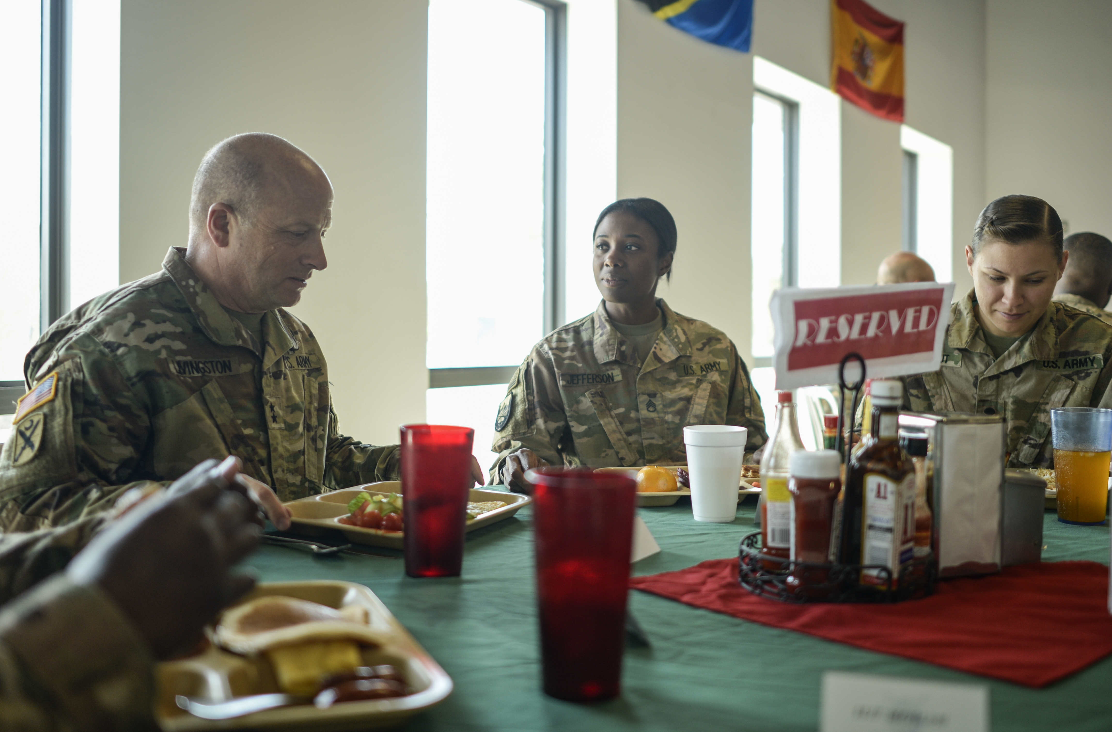 The South Carolina National Guard Adjutant General Maj. General Robert E. Livingston, Jr. has brunch with troops from the 151st Signal Battalion during his visit to Camp Lemonnier, Djibouti, Jan. 15, 2017. Maj. Gen. Livingston travelled to Camp Lemonnier to engage with deployed South Carolina National Guard members, and learn more about their role in supporting the mission of U.S. Africa Command. (U.S. Air National Guard photo by: SSgt Christian Jadot)