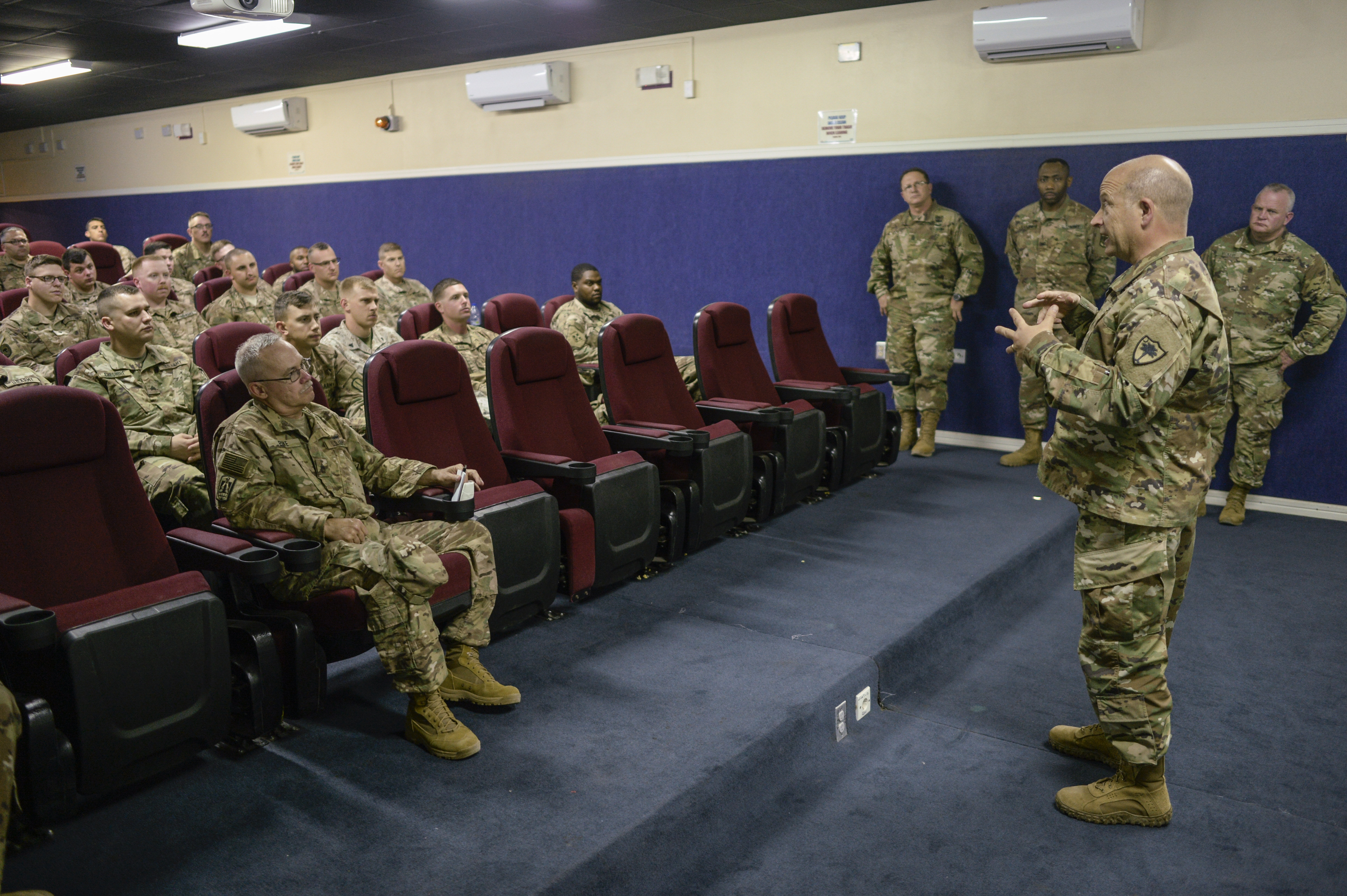 "The South Carolina National Guard Adjutant General Maj. General Robert E. Livingston, Jr. responds to questions during an ""all call"" with deployed Soldiers from the from the 151st Signal Battalion during his visit to Camp Lemonnier, Djibouti, Jan. 15, 2017. South Carolina Army National Guard Command Sergeant Major Russell Vickery joined Maj. Gen. Livingston as he visited Camp Lemonnier to engage with deployed South Carolina National Guard members, and learn more about their role in supporting the mission of U.S. Africa Command. (U.S. Air National Guard photo by: SSgt Christian Jadot)"