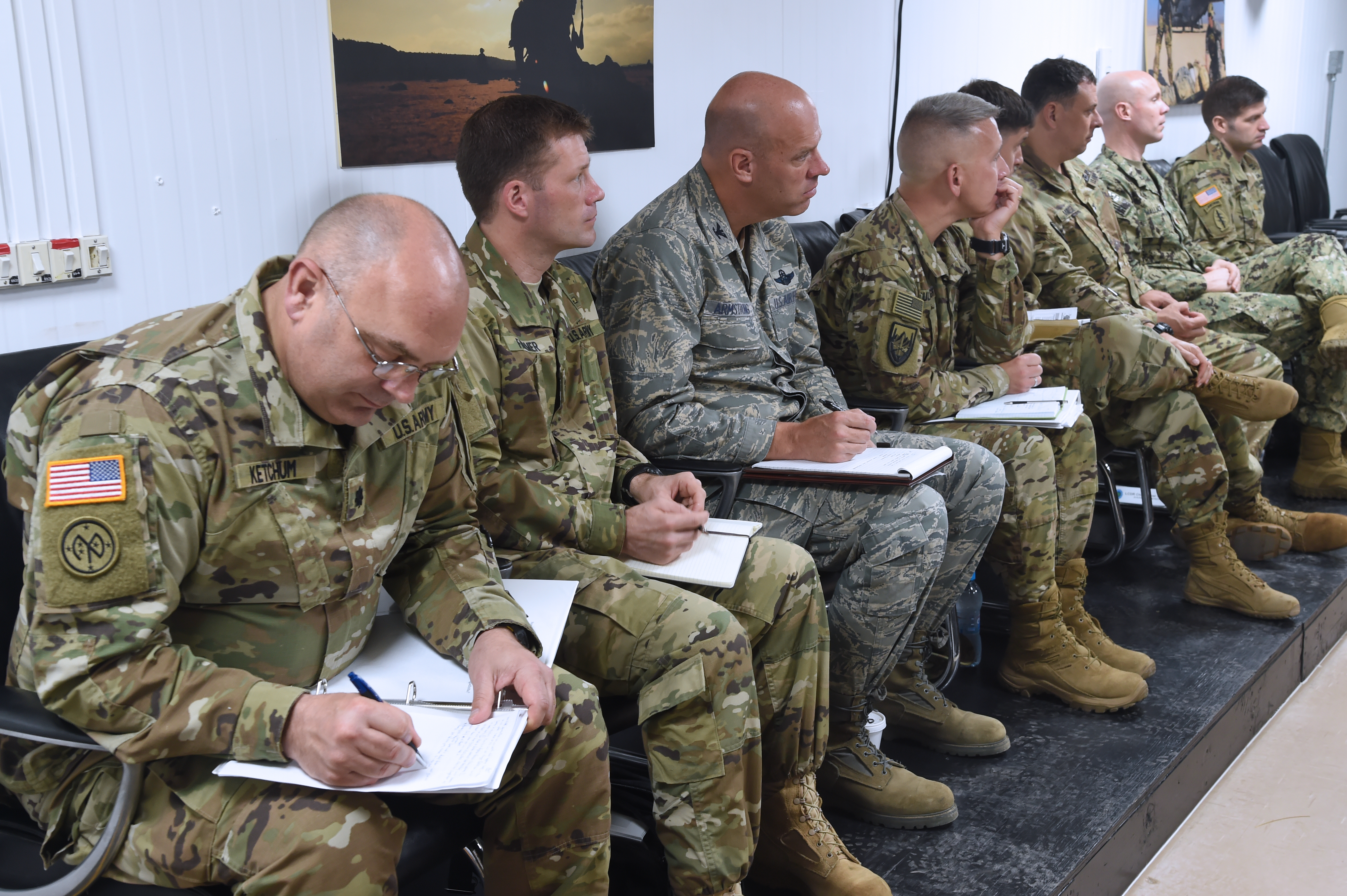 U.S. Defense Attachés and country team personnel from eight East Africa nations joined military leaders from U.S. Africa Command and Combined Joint Task Force-Horn of Africa at Camp Lemonnier, Djibouti Jan. 24, for the 2017 East Africa Security Synchronization Conference. The two-day event was hosted by CJTF-HOA under the leadership of AFRICOM Commander Gen. Thomas Waldhauser, and provided the opportunity for an open dialogue to discuss the security environments of each country. (U.S. Air National Guard photo by Master Sgt. Paul Gorman)