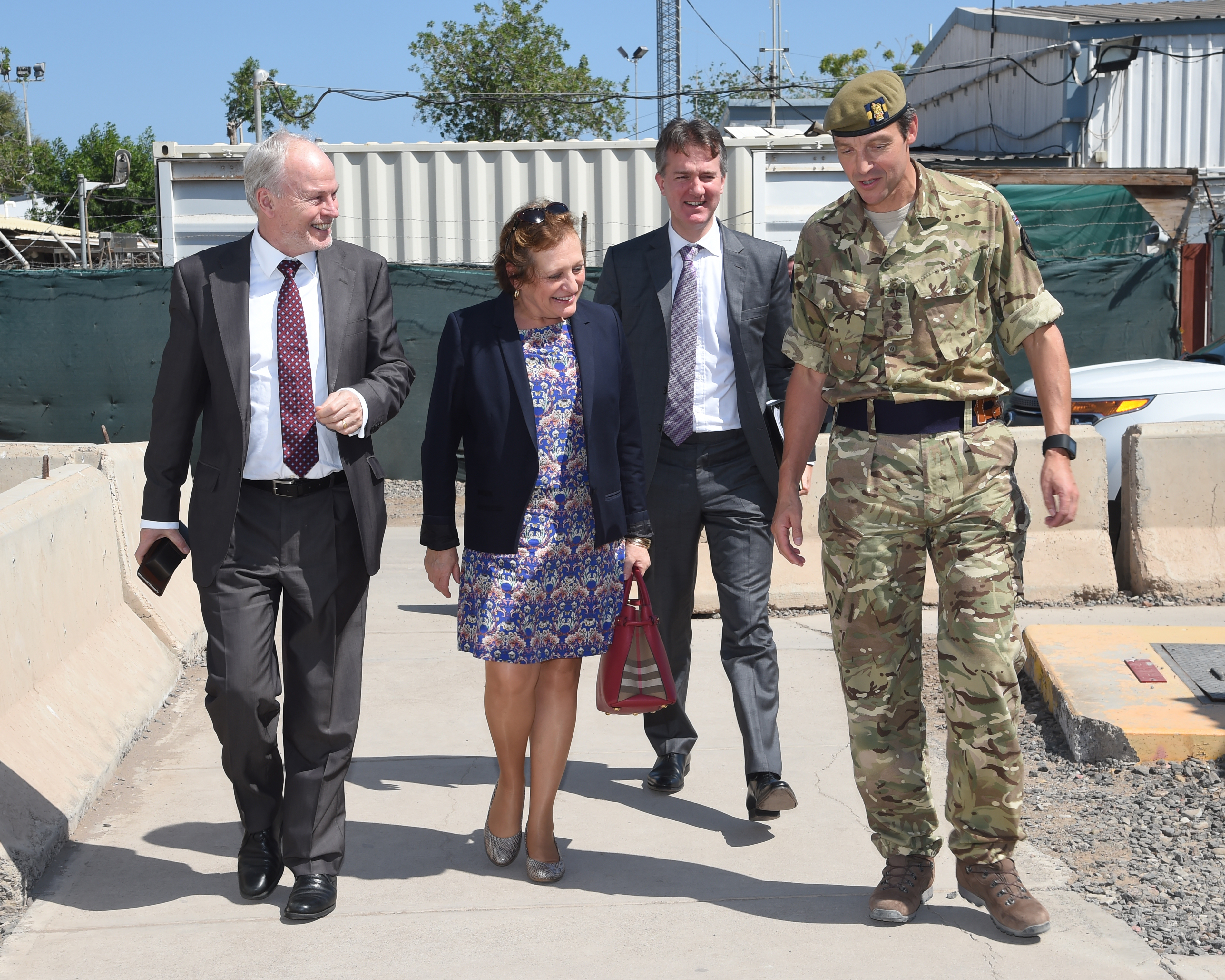 British Army Col. Adam Crawley, right, director of plans and policy for Combined Joint Task Force-Horn of Africa escorts dignitaries from the United Kingdom as they arrive at Camp Lemmonier, Djibouti, Jan. 23, 2017. Sir Nicholas Kay, U.K. special envoy to the Horn of Africa, left, joined Her Majesty's Ambassador Susanna Moorehead, British ambassador to Ethiopia and Djibouti to meet with CJTF-HOA Commanding General Maj. Gen. Kurt Sonntag to gain a greater understanding of CJTF-HOA's mission and execution. (U.S. Air National Guard photo by Master Sgt. Paul Gorman)