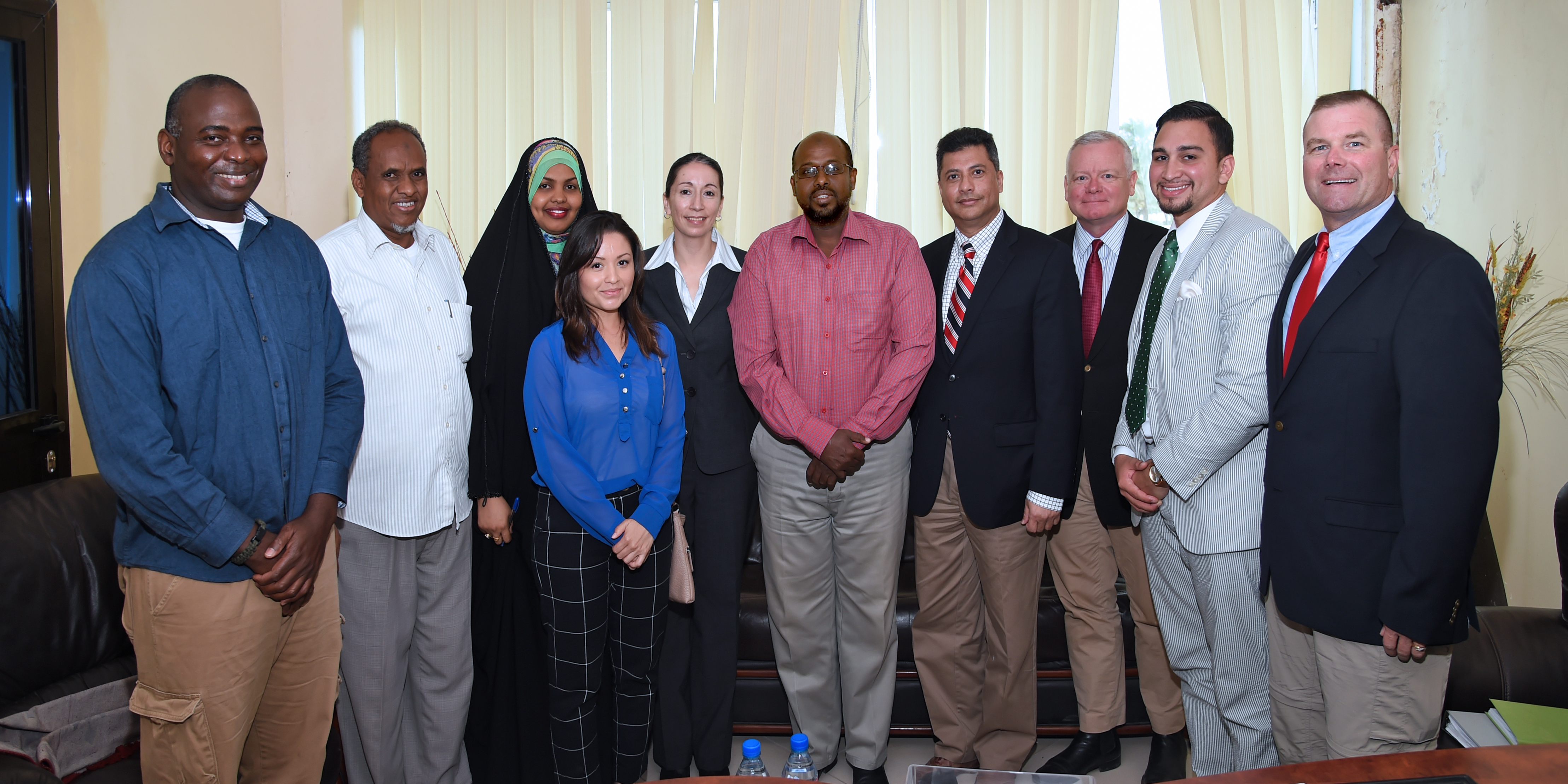 The Combined Joint Task Force-Horn of Africa Religious Affairs staff join U.S. Navy Cmdr. Abuhena Saifulislam, deputy command chaplain for U.S. Africa Command, and U.S. Army Sgt. Maj. Chantel Sena-Diaz, senior enlisted leader of religious affairs for USAFRICOM to meet with members of the Ministry of Islamic Affairs in downtown Djibouti Jan. 30, 2017. The meeting was part of a week-long temporary duty assignment to Djibouti for exercise Cutlass Express 2017, during which Saifulislam and Sena-Diaz were able to engage with key Muslim leaders and local practitioners of the Islamic faith. (U.S. Air National Guard photo by Master Sgt. Paul Gorman)