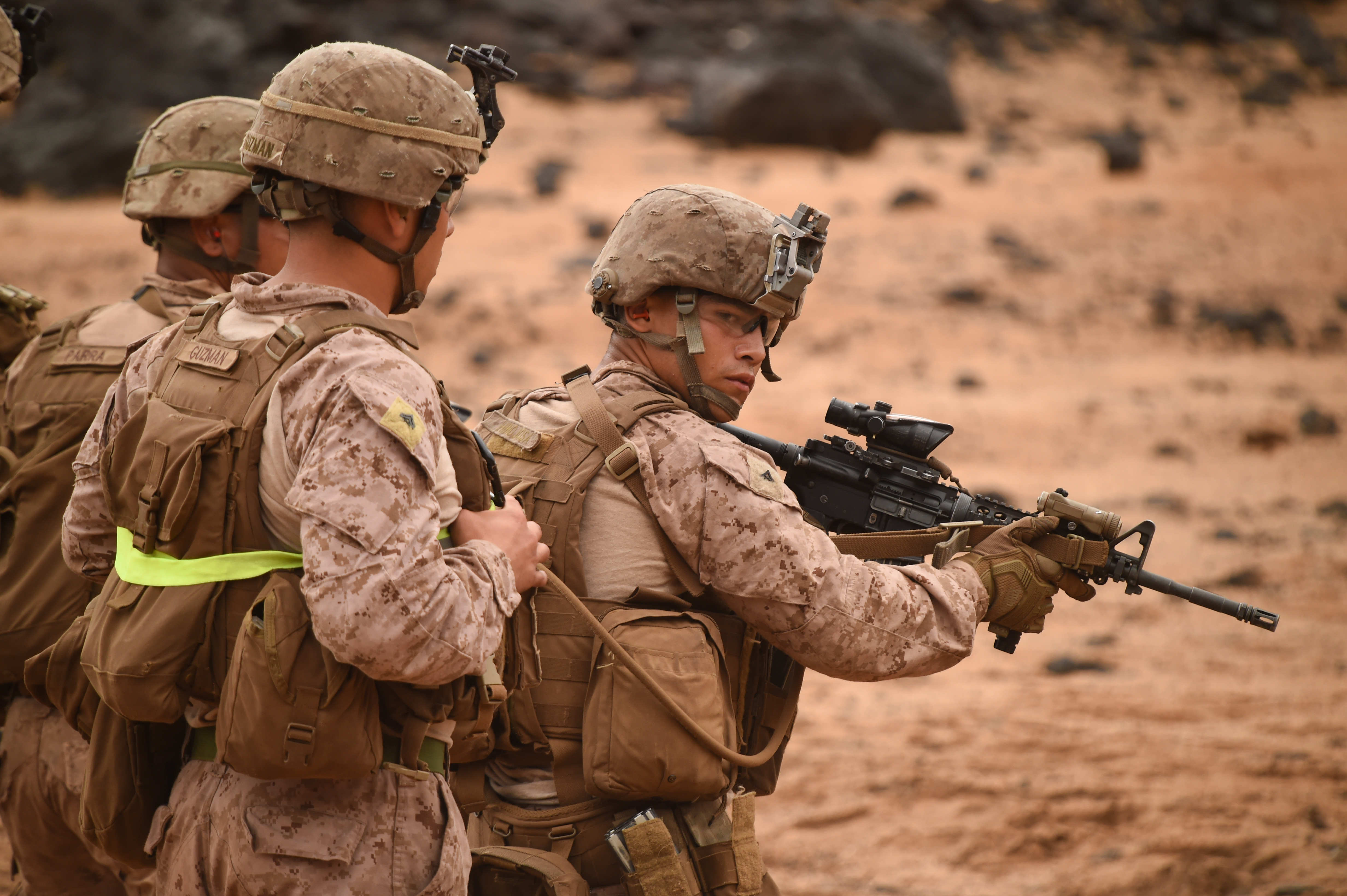 U.S. Marines with Alpha Company, 1st Battalion, 11th Marine Expeditionary Unit (MEU), completes a repetition of fire during a Combat Marksmanship Program shoot, Feb. 14, 2017, at Arta Beach in Djibouti. Marines worked on engaging a target while moving and under physical stress. The time on the range allows the 11th MEU to maintain their respective skills and proficiencies. (U.S. Air National Guard photo by Staff Sgt. Penny Snoozy)