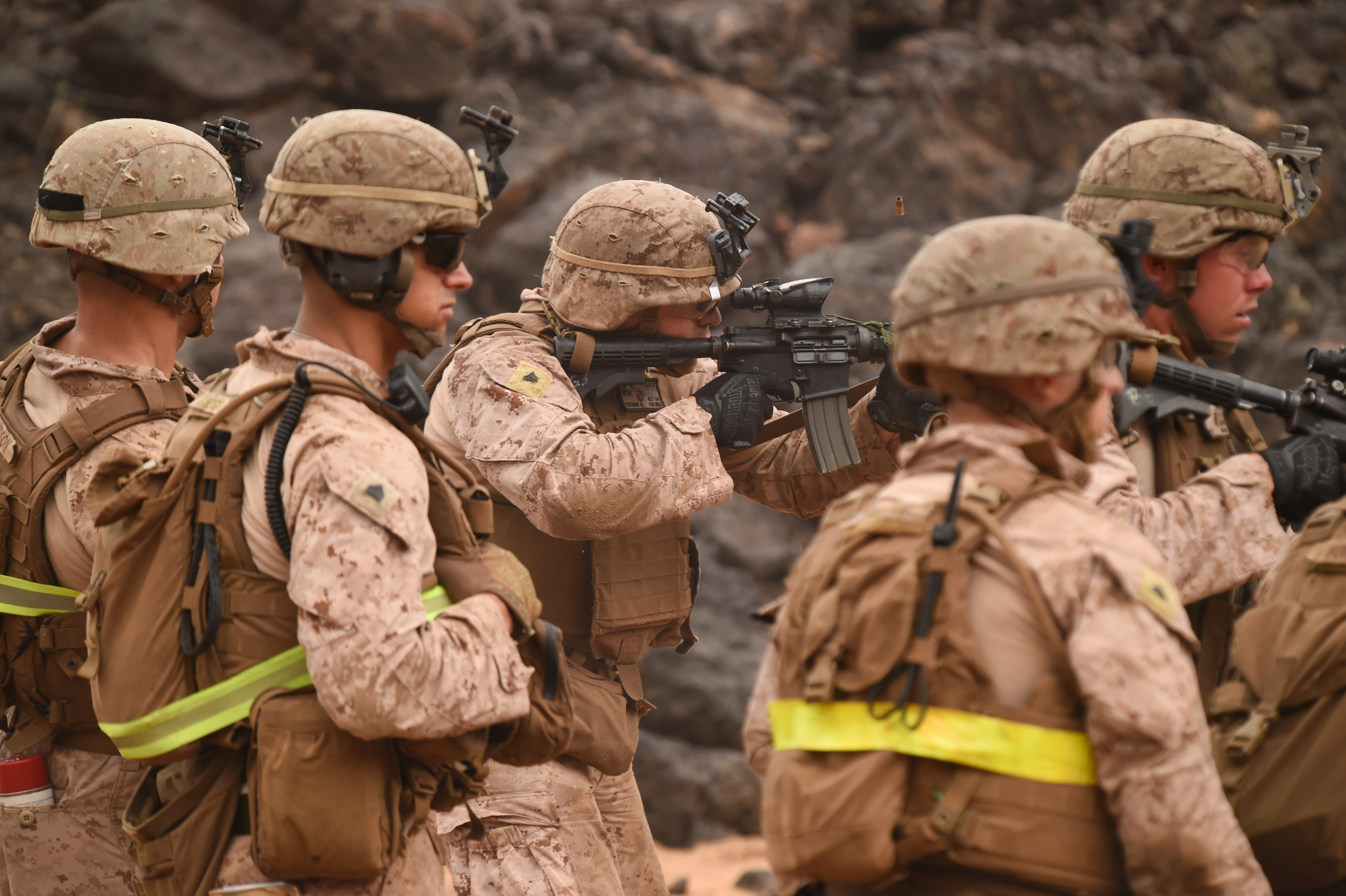 U.S. Marines with Alpha Company, 1st Battalion, 11th Marine Expeditionary Unit (MEU), focus downrange during a Combat Marksmanship Program shoot, Feb. 14, 2017, at Arta Beach in Djibouti. Marines worked on engaging a target while moving and under physical stress. A MEU is a forward-deployed, flexible sea-based Marine air-ground task force ready to respond to crisis and conduct limited contingency operations. (U.S. Air National Guard photo by Staff Sgt. Penny Snoozy)