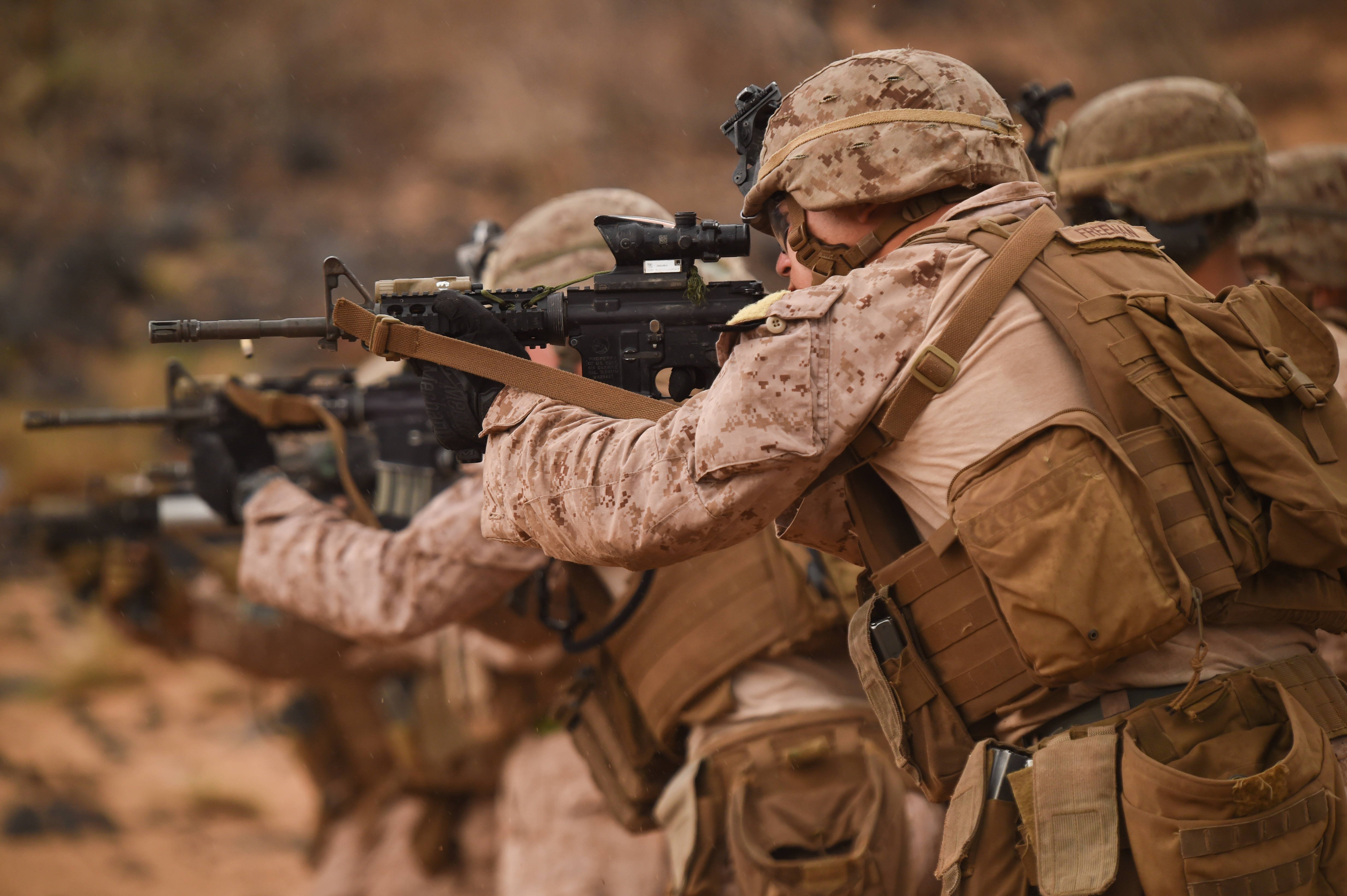 U.S. Marines with Alpha Company, 1st Battalion, 11th Marine Expeditionary Unit (MEU), focus downrange during a Combat Marksmanship Program shoot, Feb. 14, 2017, at Arta Beach in Djibouti. Marines worked on engaging a target while moving and under physical stress. A MEU is a quick response force, which consists of Sailors and Marines on standby for immediate crisis response across the globe. (U.S. Air National Guard photo by Staff Sgt. Penny Snoozy)