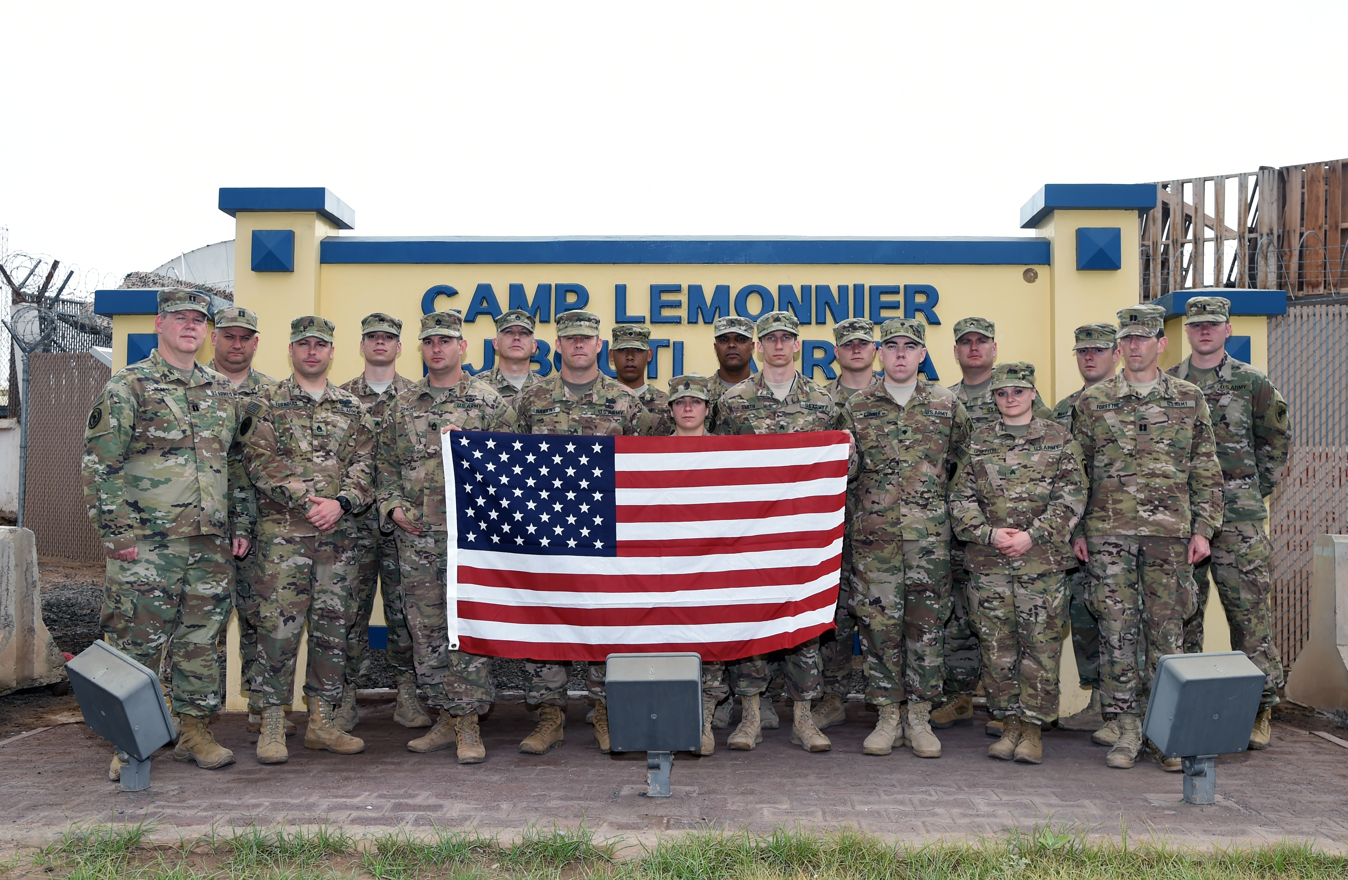 U.S. Soldiers assigned to Combined Joint Task Force-Horn of Africa's operations directorate are presented the U.S. Africa Command combat patch while deployed to Camp Lemonnier, Djibouti, Feb. 25, 2017. The tradition of the combat patch dates back to World War I when members of the U.S. Army's 81st Infantry Division were authorized to wear distinctive shoulder sleeve insignia during and following their service in France. (U.S. Air National Guard photo by Master Sgt. Paul Gorman)