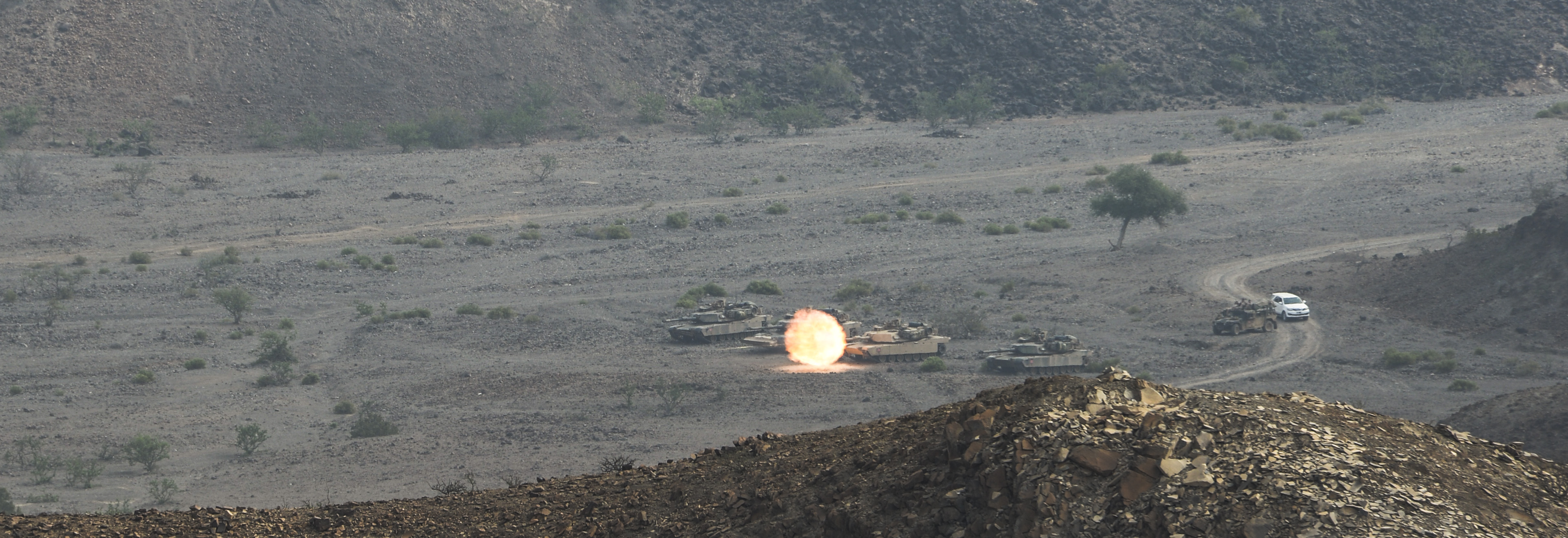 A U.S. Marine M1A main battle tank from the 24th Marine Expeditionary Unit (24th MEU) engages a simulated target during Exercise Alligator Dagger at Arta Range, Djibouti, April 9, 2017. The 24th MEU, part of the Bataan Amphibious Ready Group, is deployed to the U.S. 5th Fleet area of operations in support of maritime security operations designed to reassure allies and partners and preserve the freedom of navigation and the free flow of commerce in the region. (U.S. Air National Guard photo by Staff Sgt. Christian Jadot)